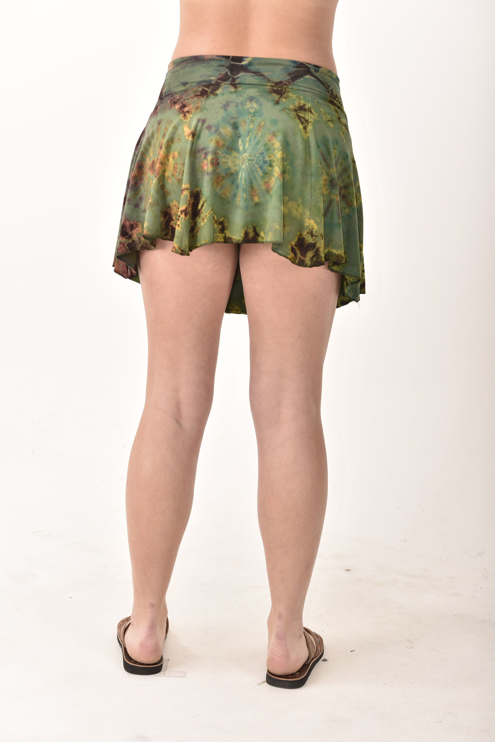 Hand Painted Tie Dye Mini Skirt Green