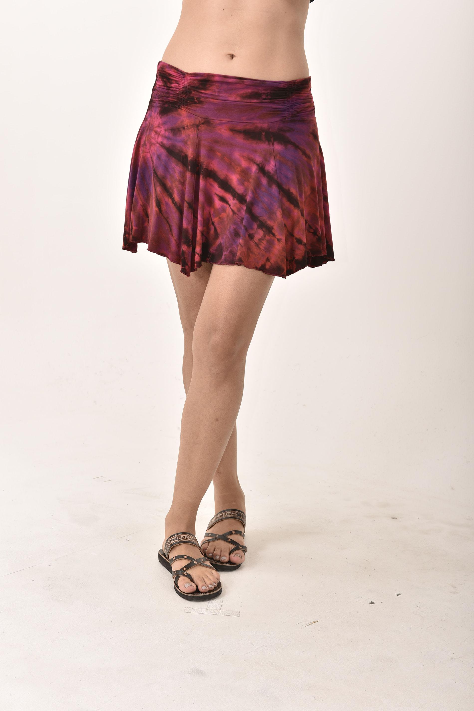 Hand Painted Tie Dye Mini Skirt Red