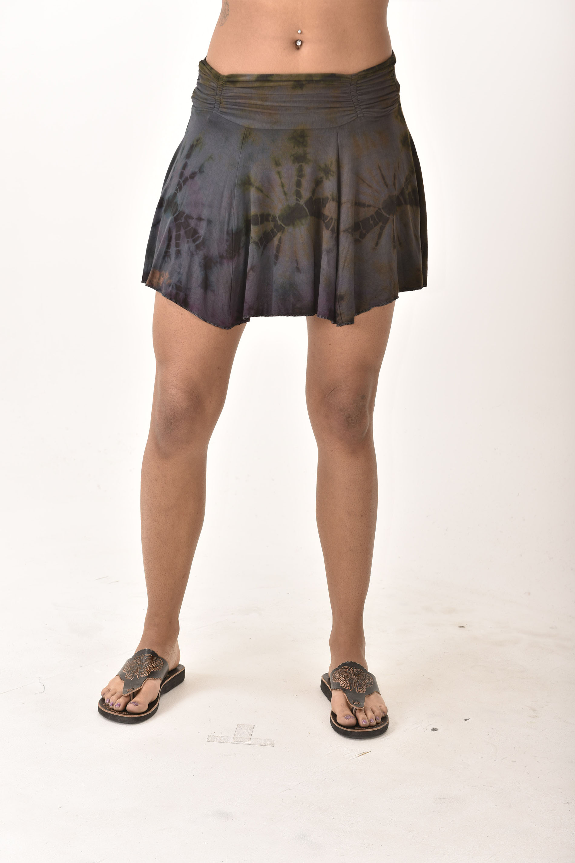 Hand Painted Tie Dye Mini Skirt Grey