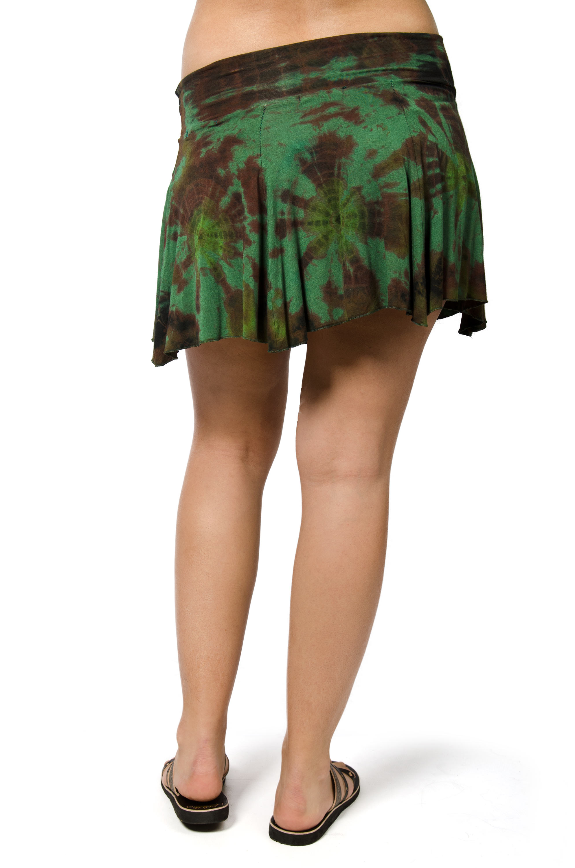 Hand Painted Tie Dye Mini Skirt - Green Multi