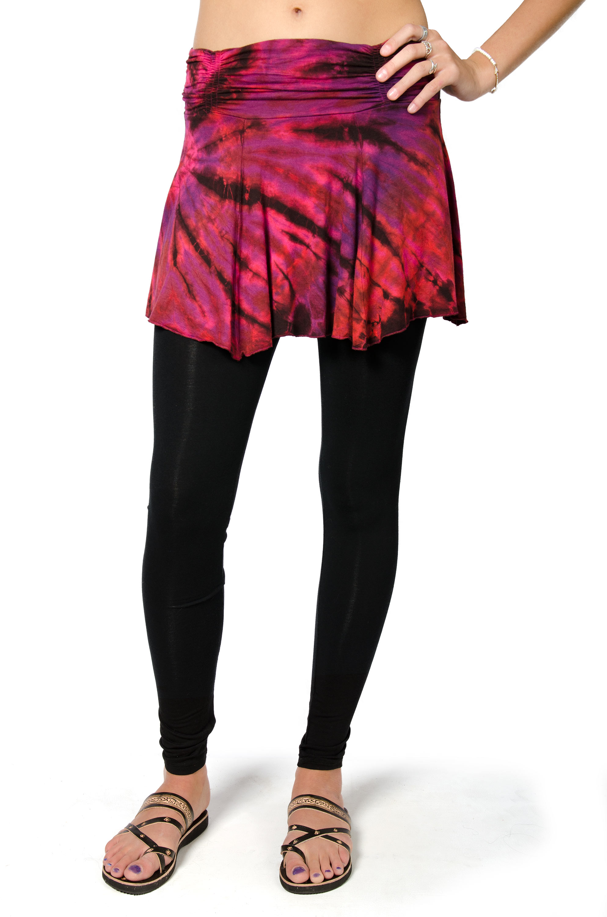 Hand Painted Tie Dye Mini Skirt - Red Multi