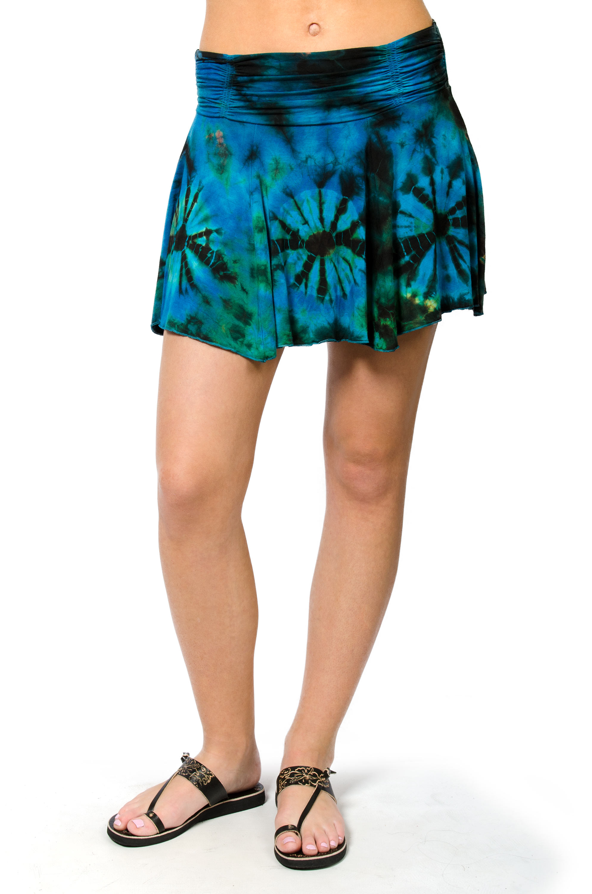 Hand Painted Tie Dye Mini Skirt Teal