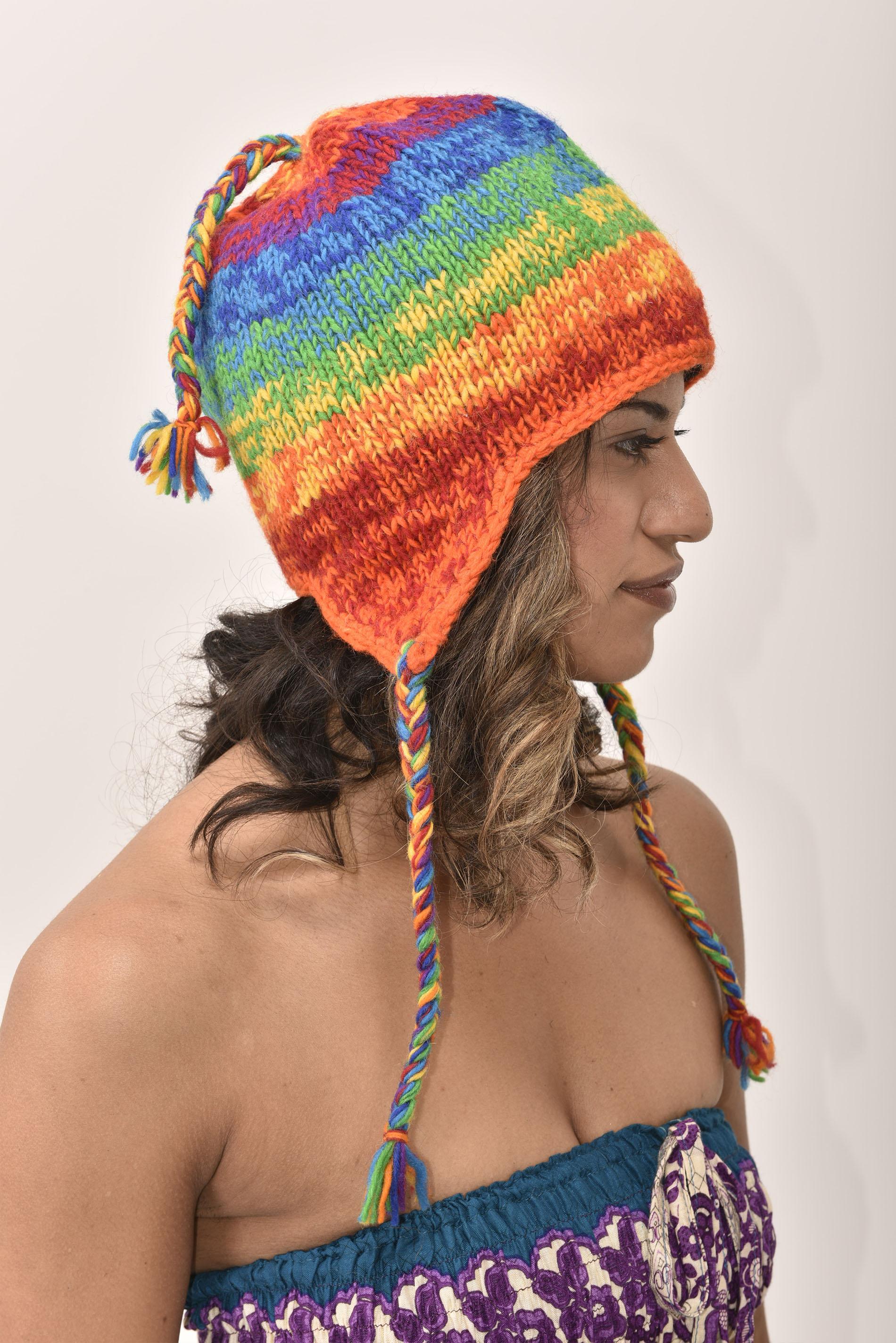 Sherpa Hat Striped, Rainbow