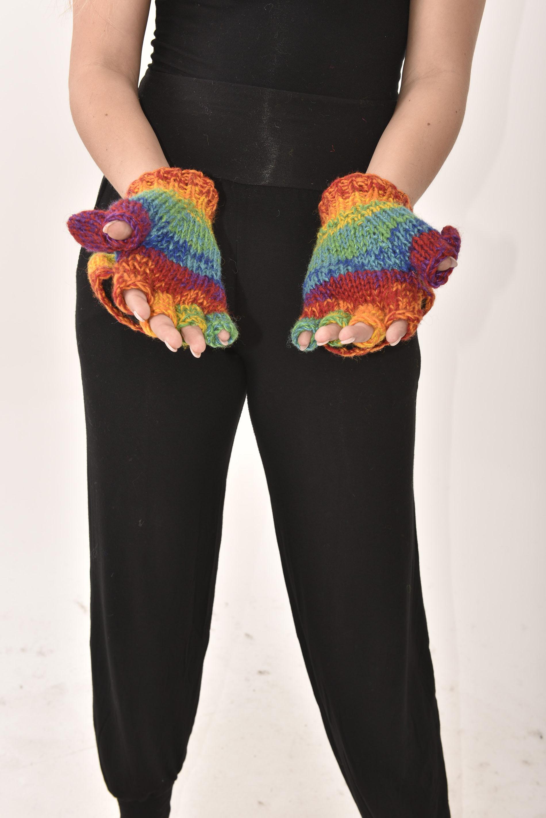 Wool Rainbow Glittens