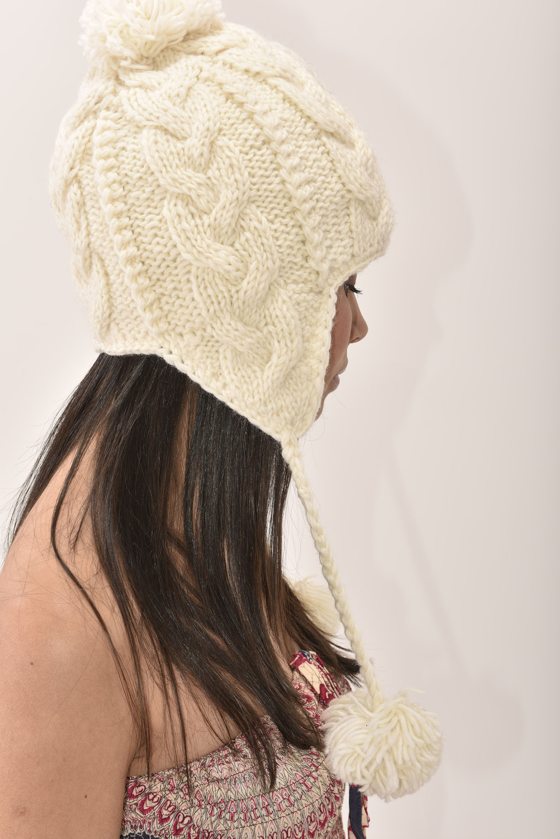 Sherpa Hat Cable Knit, Cream