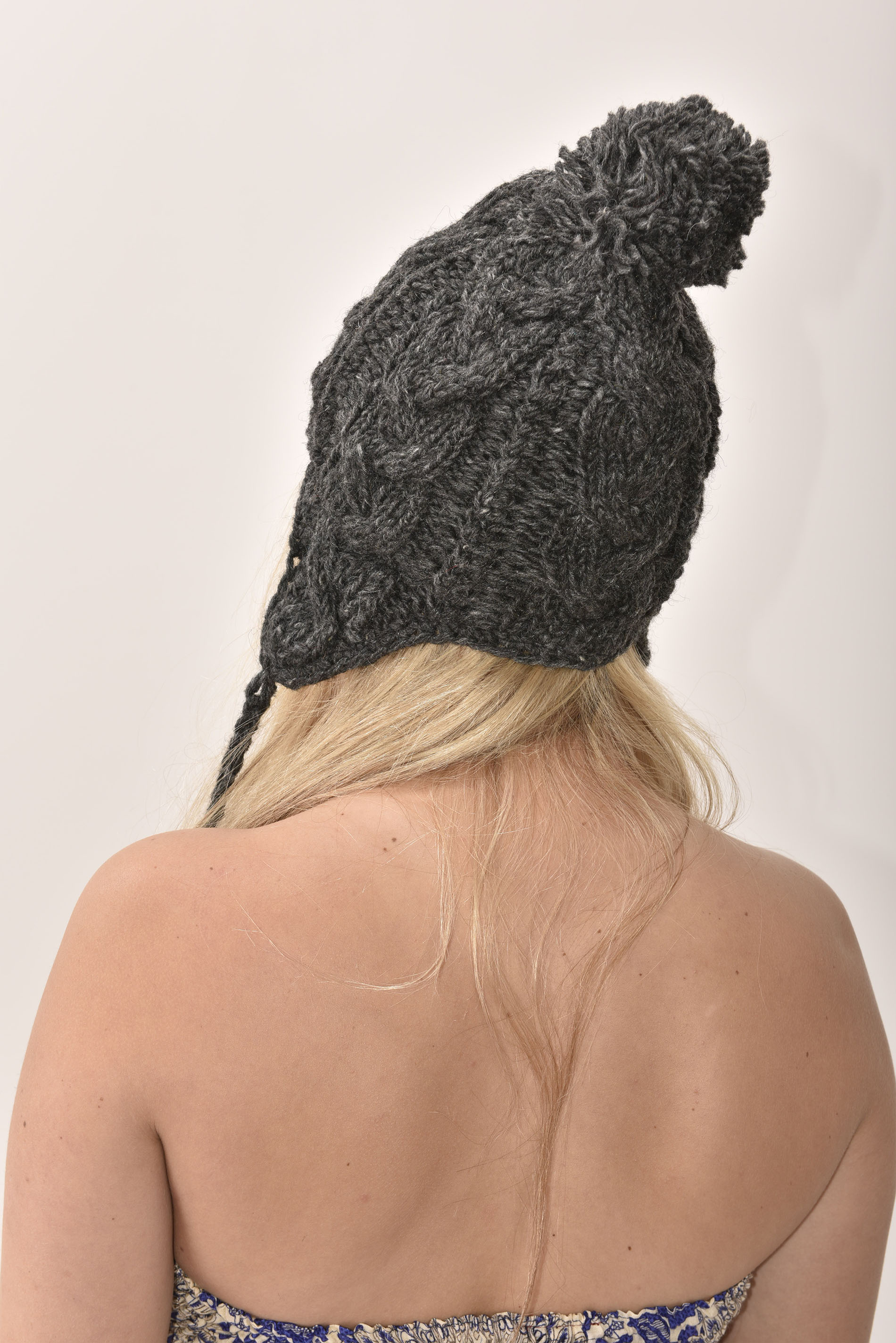 Sherpa Hat Cable Knit, Grey