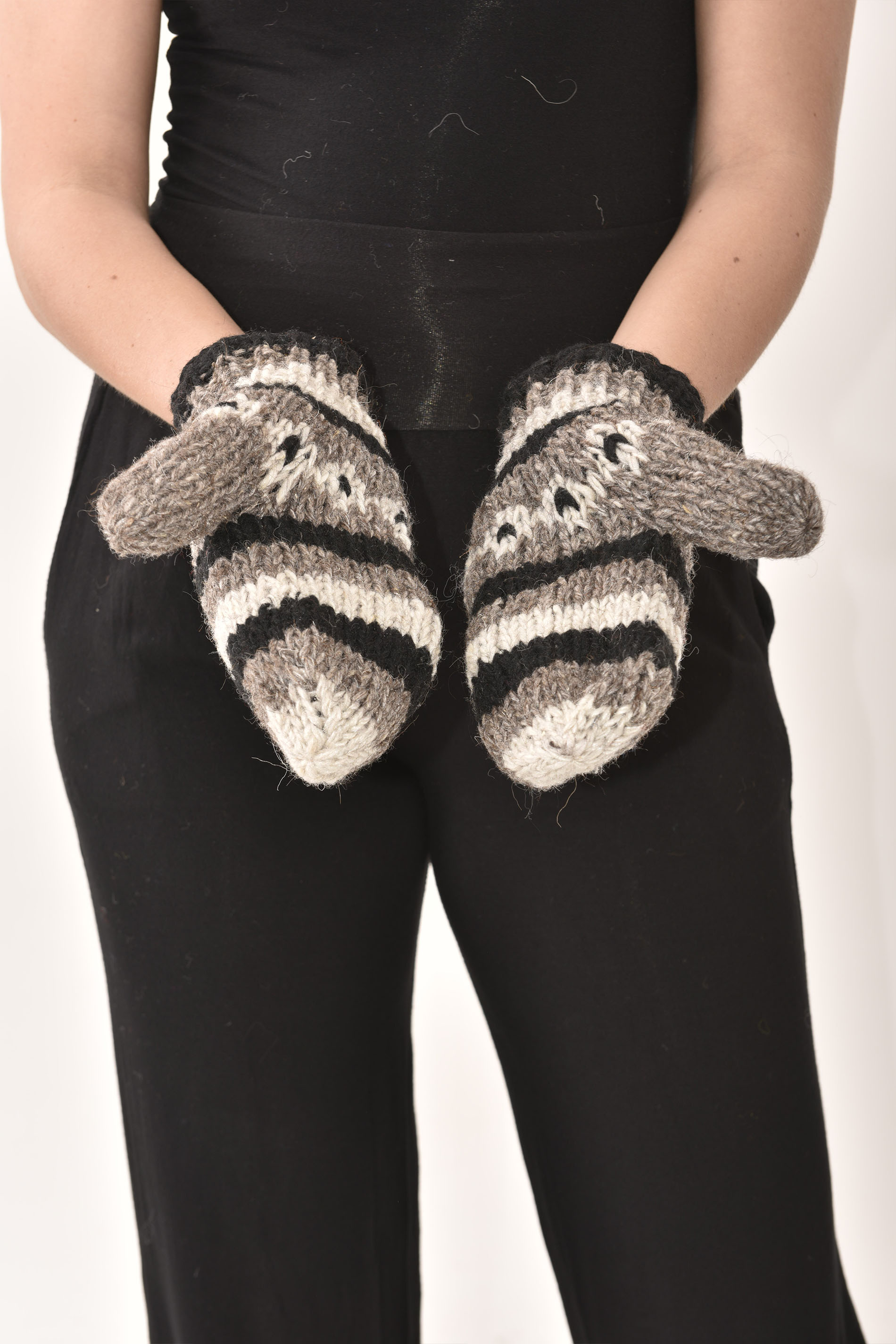 Mittens Striped, Grey
