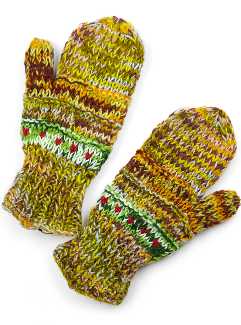 Wool Striped Mittens