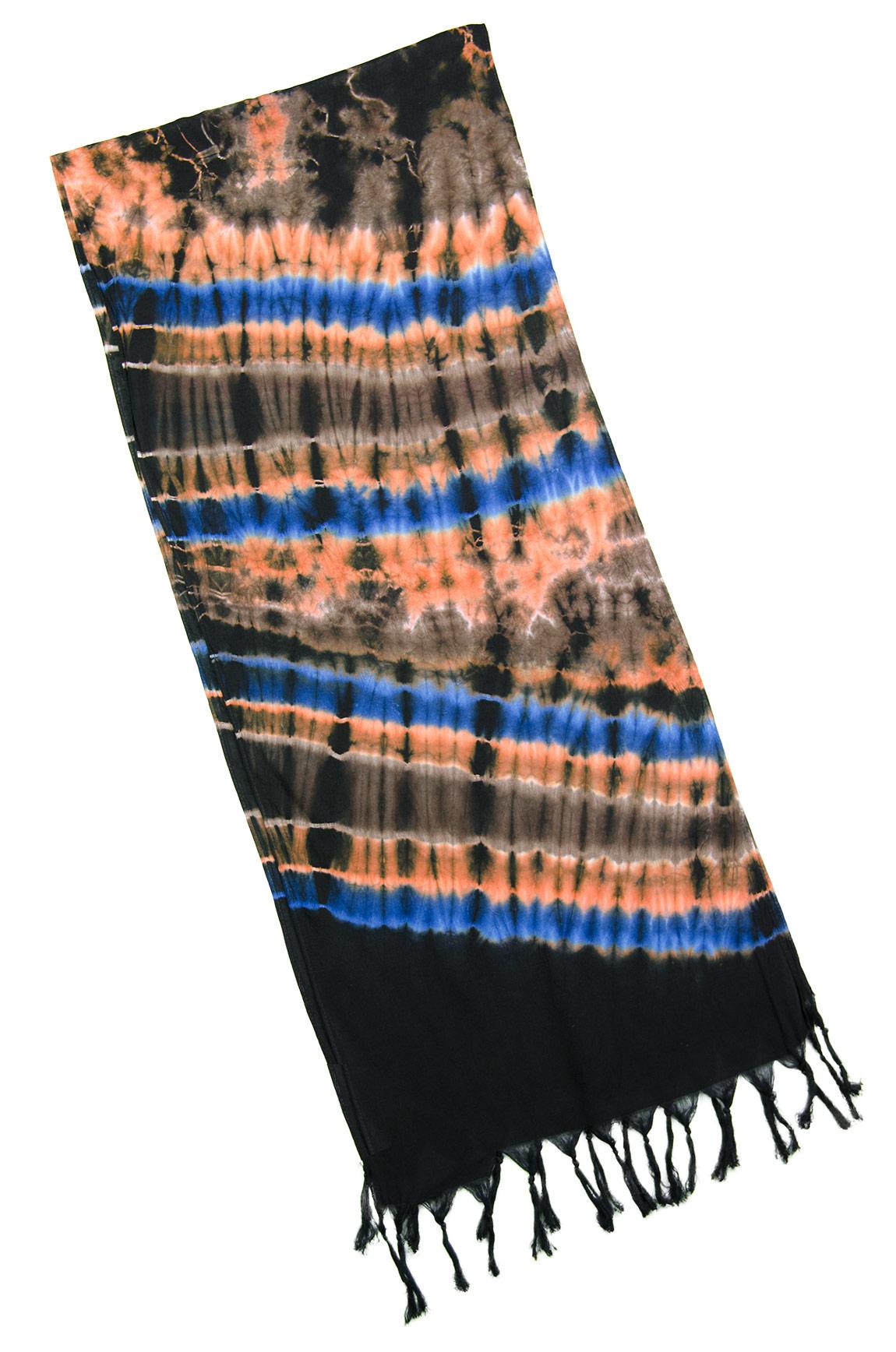 Hand Painted Tie Dye Fringed Scarf Orange-Blue-Multi