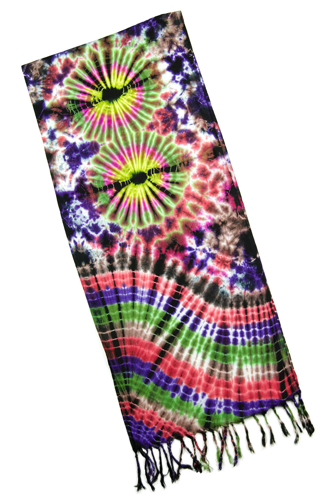 Hand Painted Tie Dye Fringed Scarf Everything-Multi