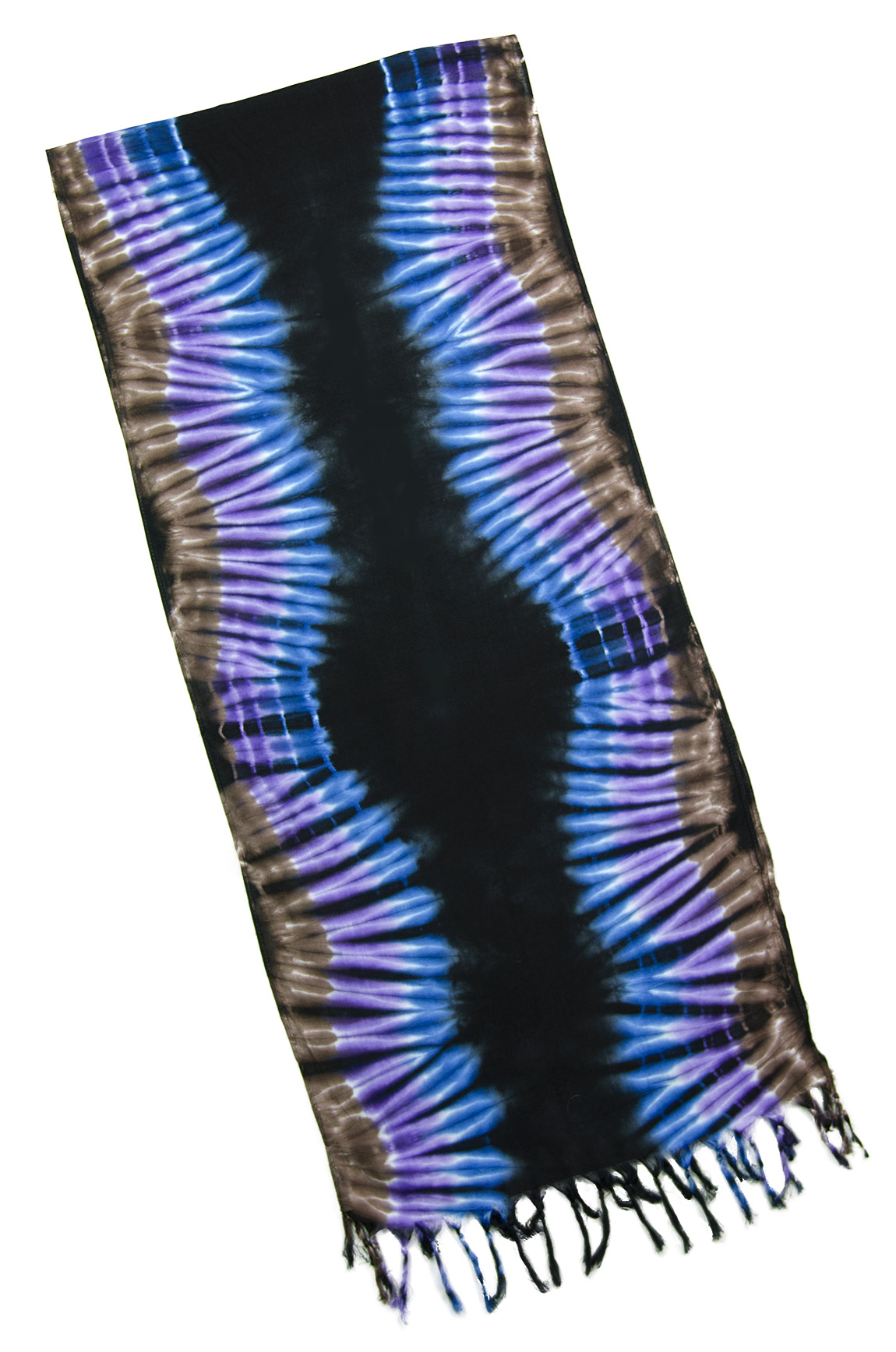 Hand Painted Tie Dye Fringed Scarf Purple-Blue-Multi