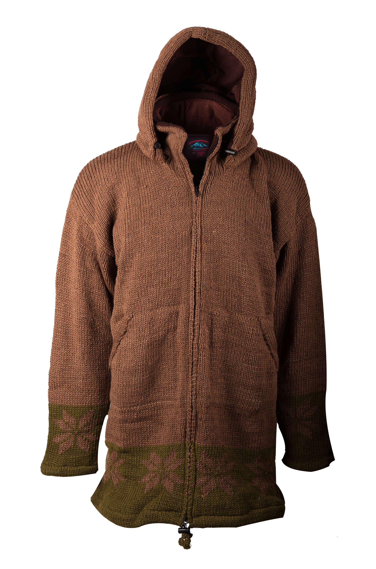 Himalayan Mountain Jacket Long Length Snowflake, Brown