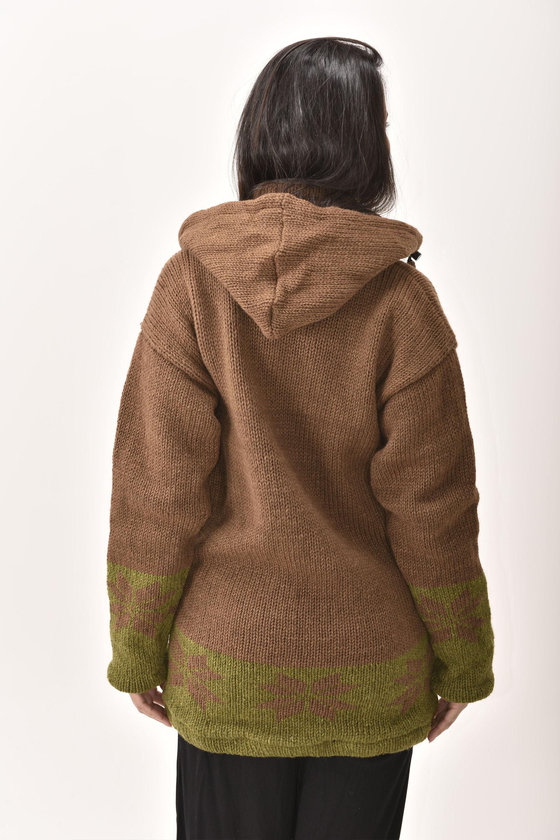 Himalayan Mountain Jacket Long Length Snowflake, Brown