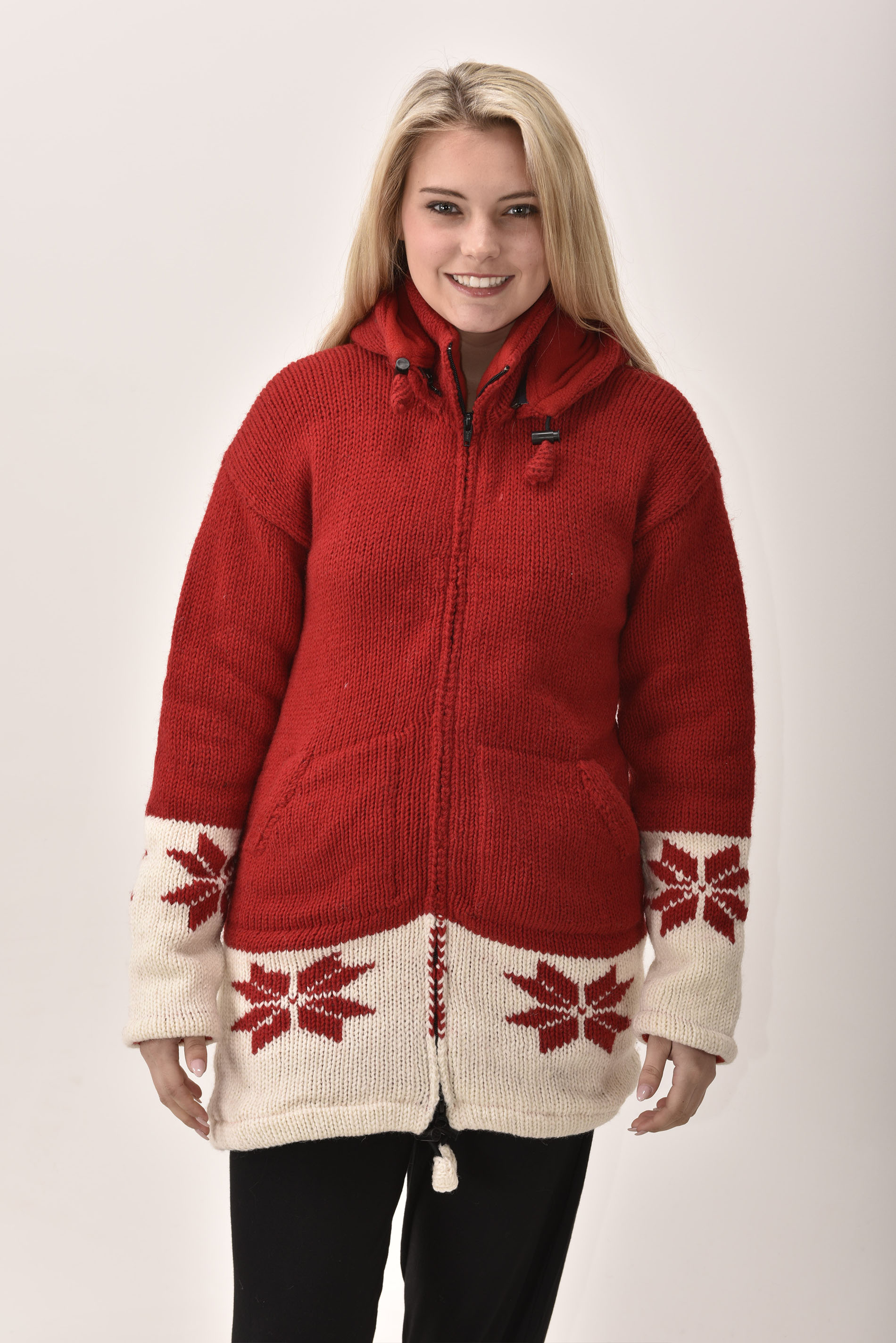 Himalayan Mountain Jacket Long Length Snowflake, Red