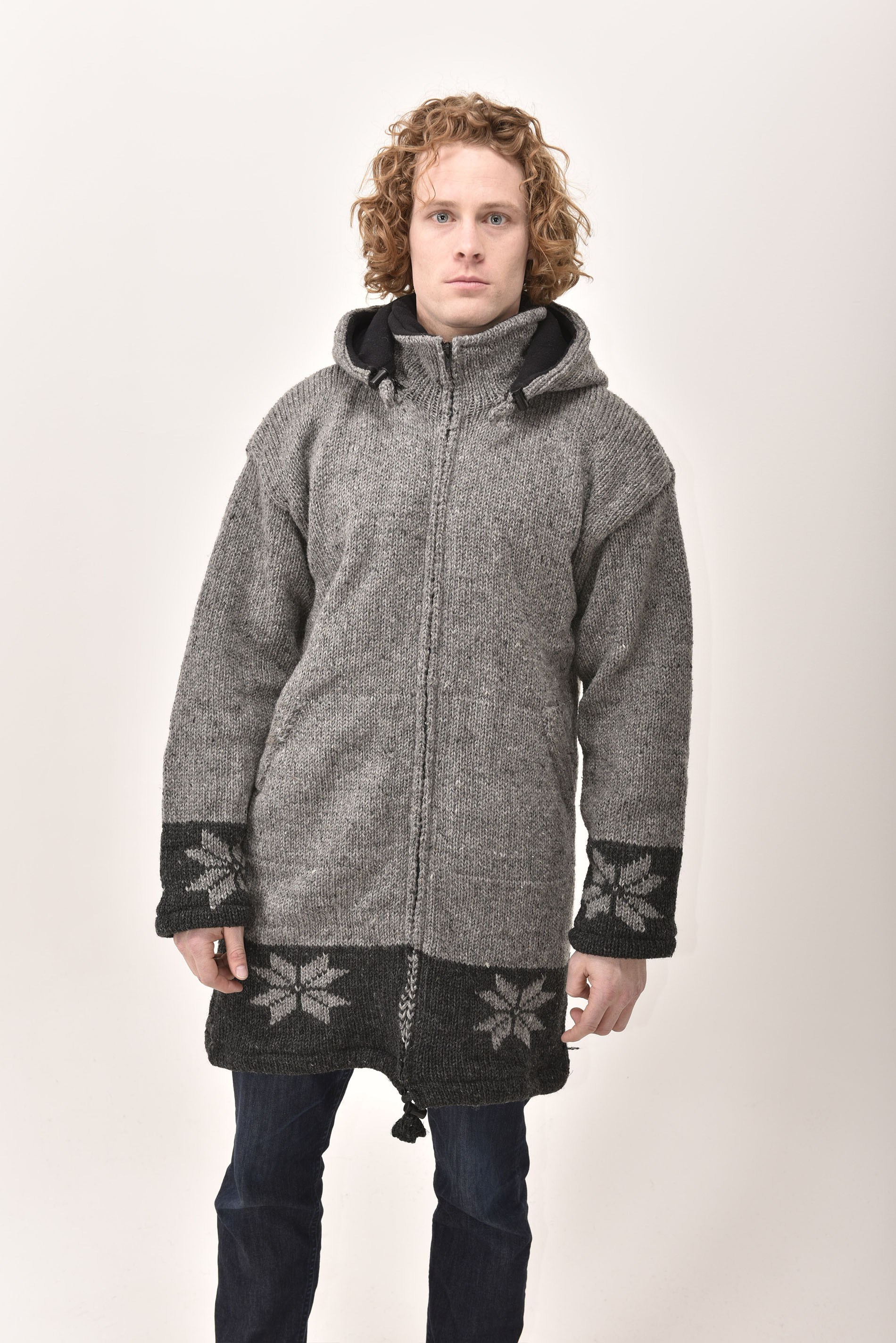 Himalayan Mountain Jacket Long Length Snowflake, Grey