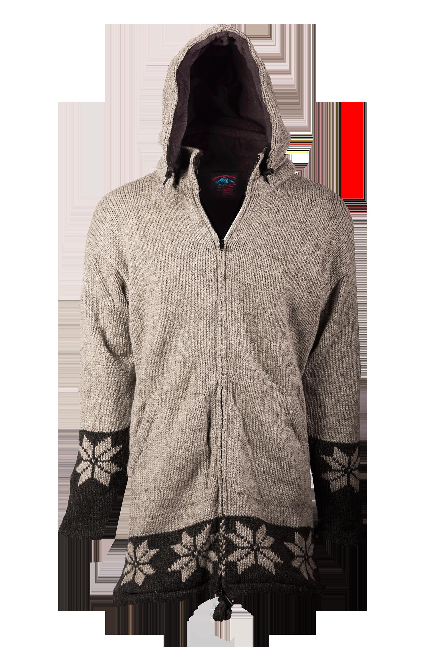 Himalayan Mountain Jacket Long Length Snowflake, Grey