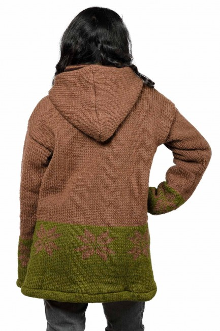 Wool Snowflake Himalayan Mountain Jacket – Long Length Brown & Olive