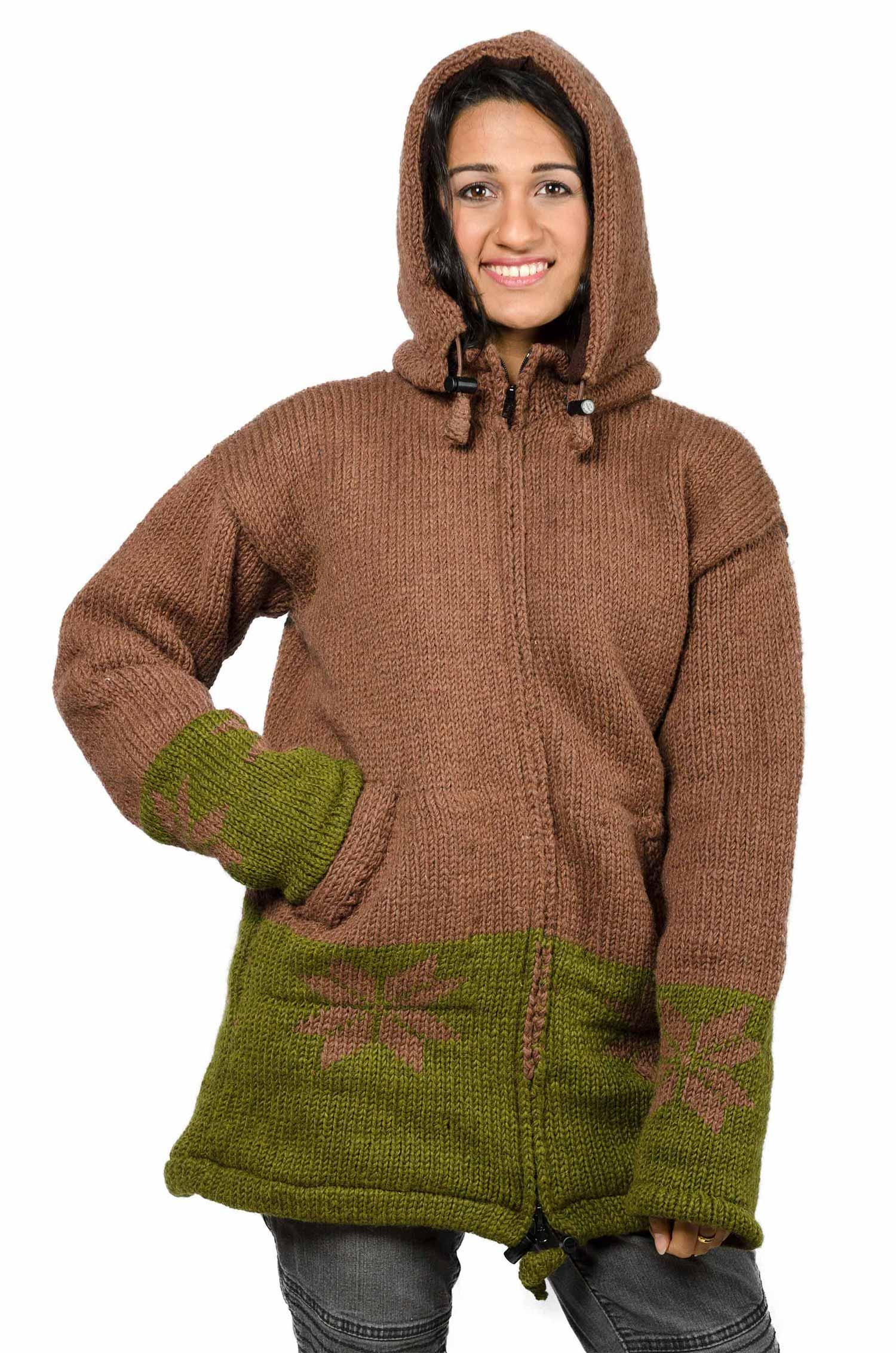 Wool Snowflake Himalayan Mountain Jacket – Long Length Brown & Olive