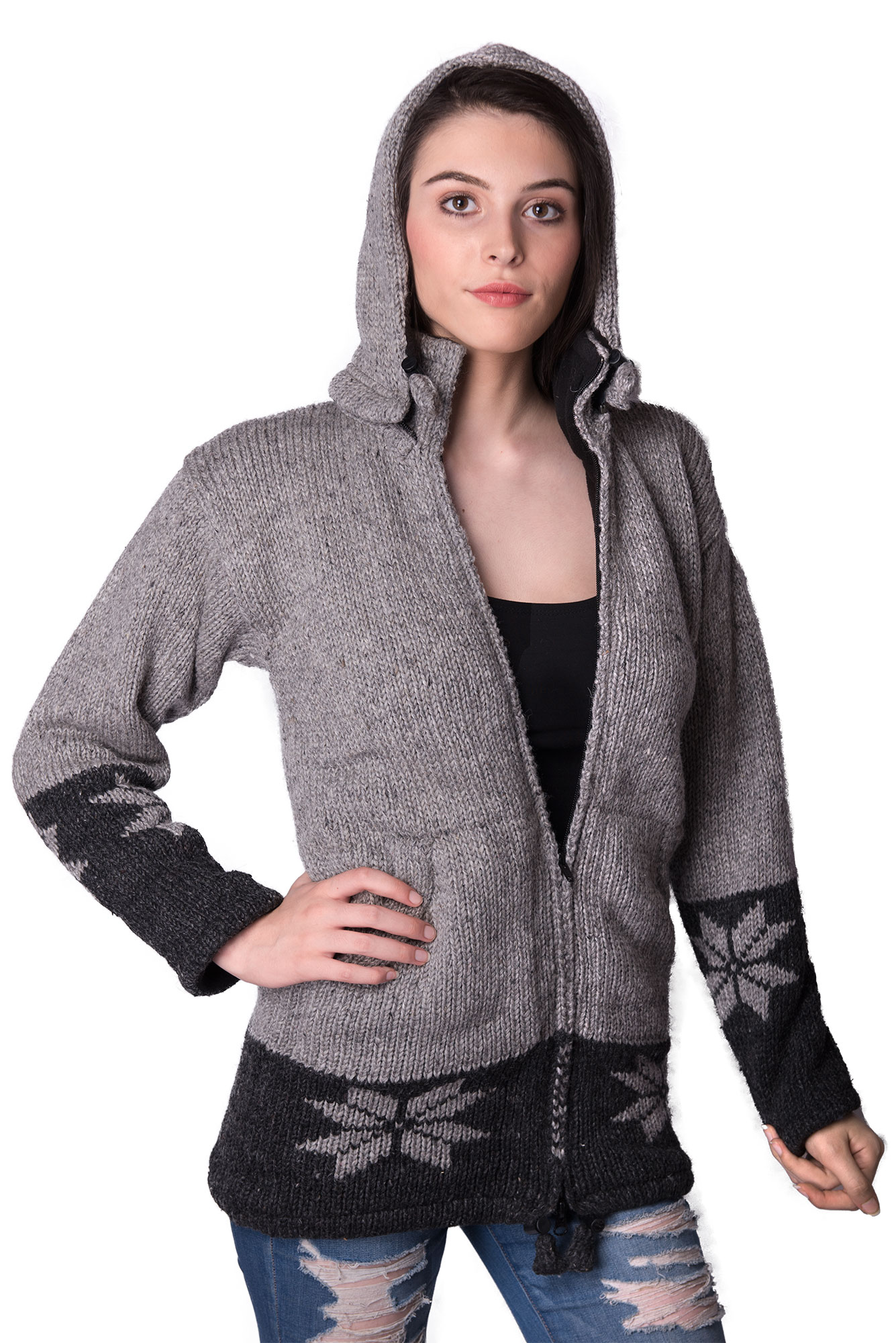 Wool Snowflake Himalayan Mountain Jacket – Long Length Pewter & Charcoal