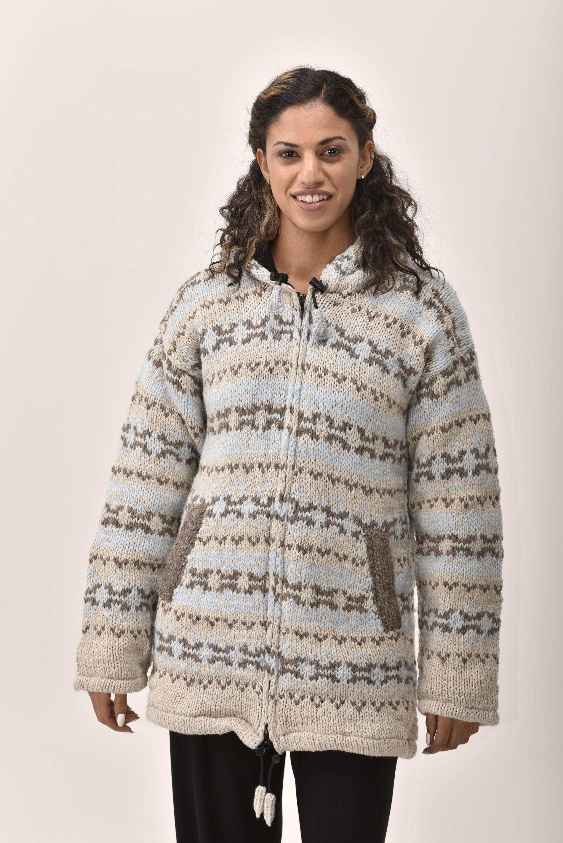 Himalayan Mountain Jacket Long Length Vintage Pattern, Blue