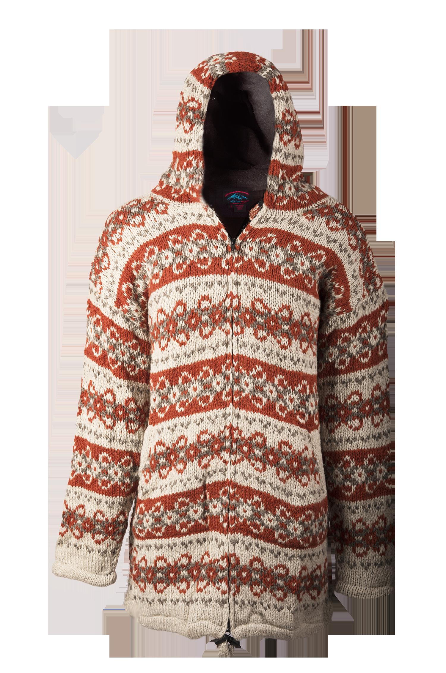 Himalayan Mountain Jacket Long Length Vintage Pattern, Orange