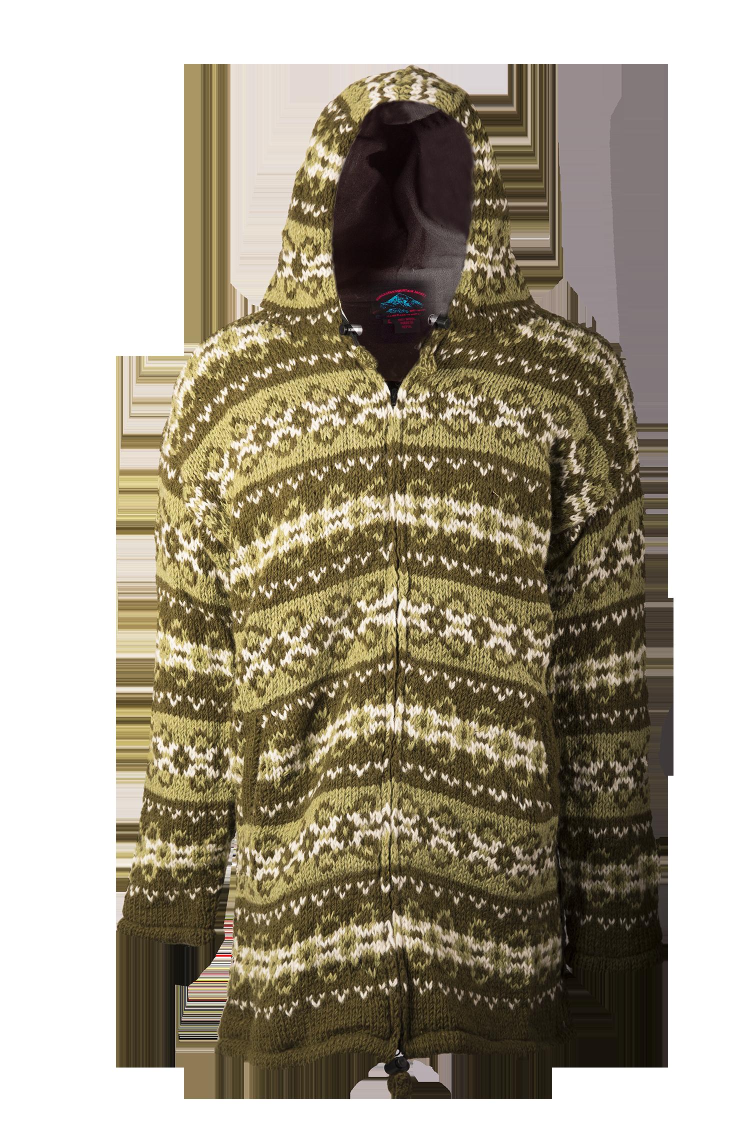 Himalayan Mountain Jacket Long Length Vintage Pattern, Green