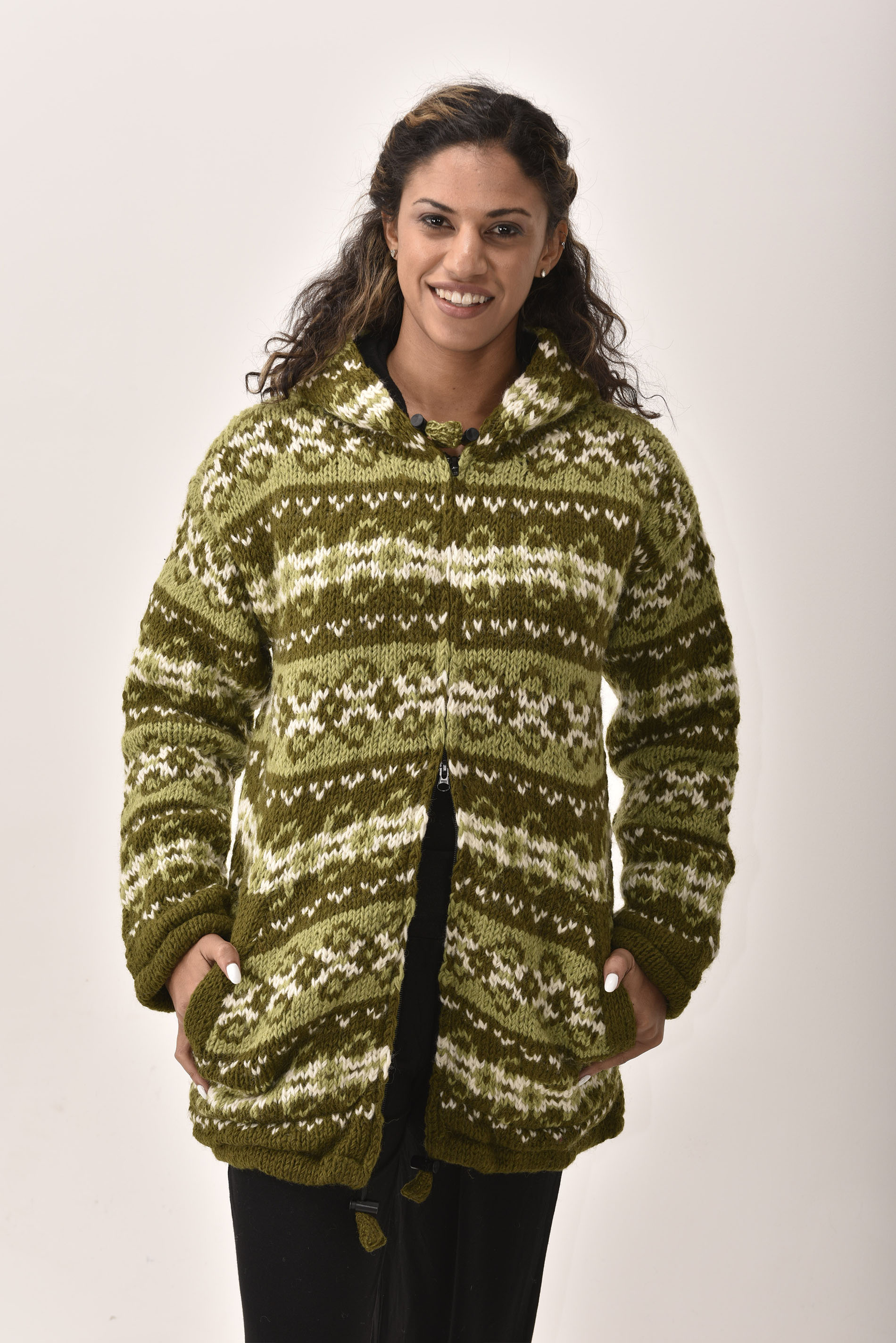 Himalayan Mountain Jacket Long Length Vintage Pattern, Green