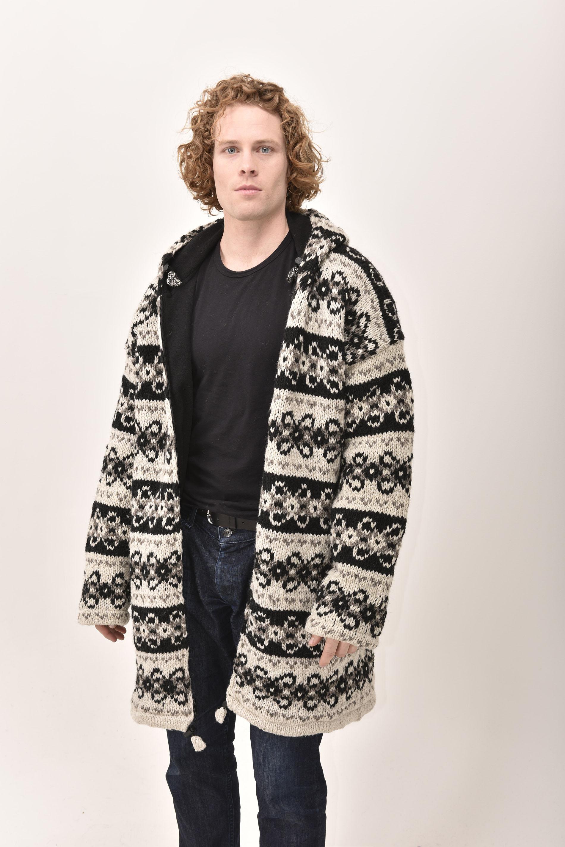 Himalayan Mountain Jacket Long Length Vintage Pattern, Black