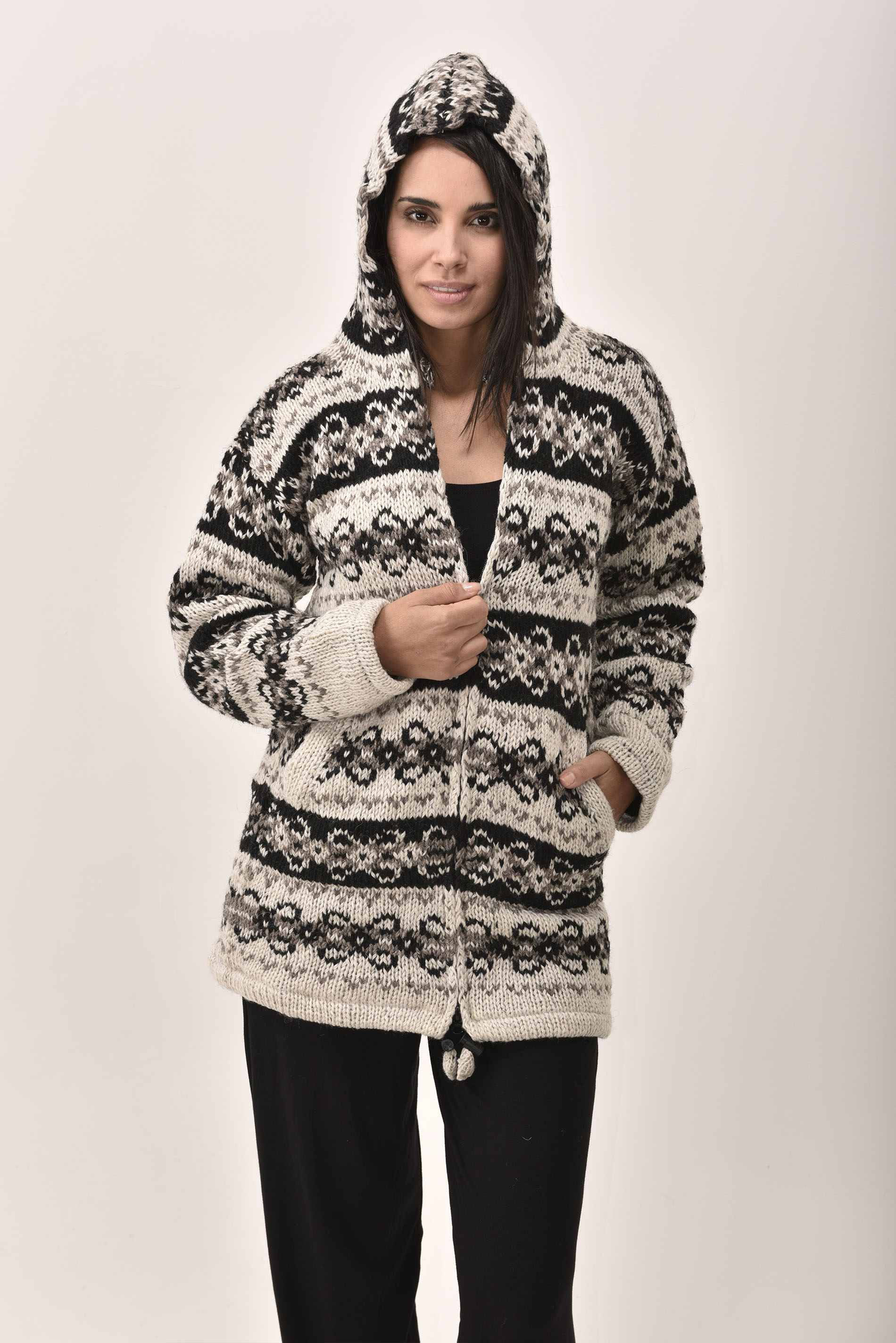 Himalayan Mountain Jacket Long Length Vintage Pattern, Black