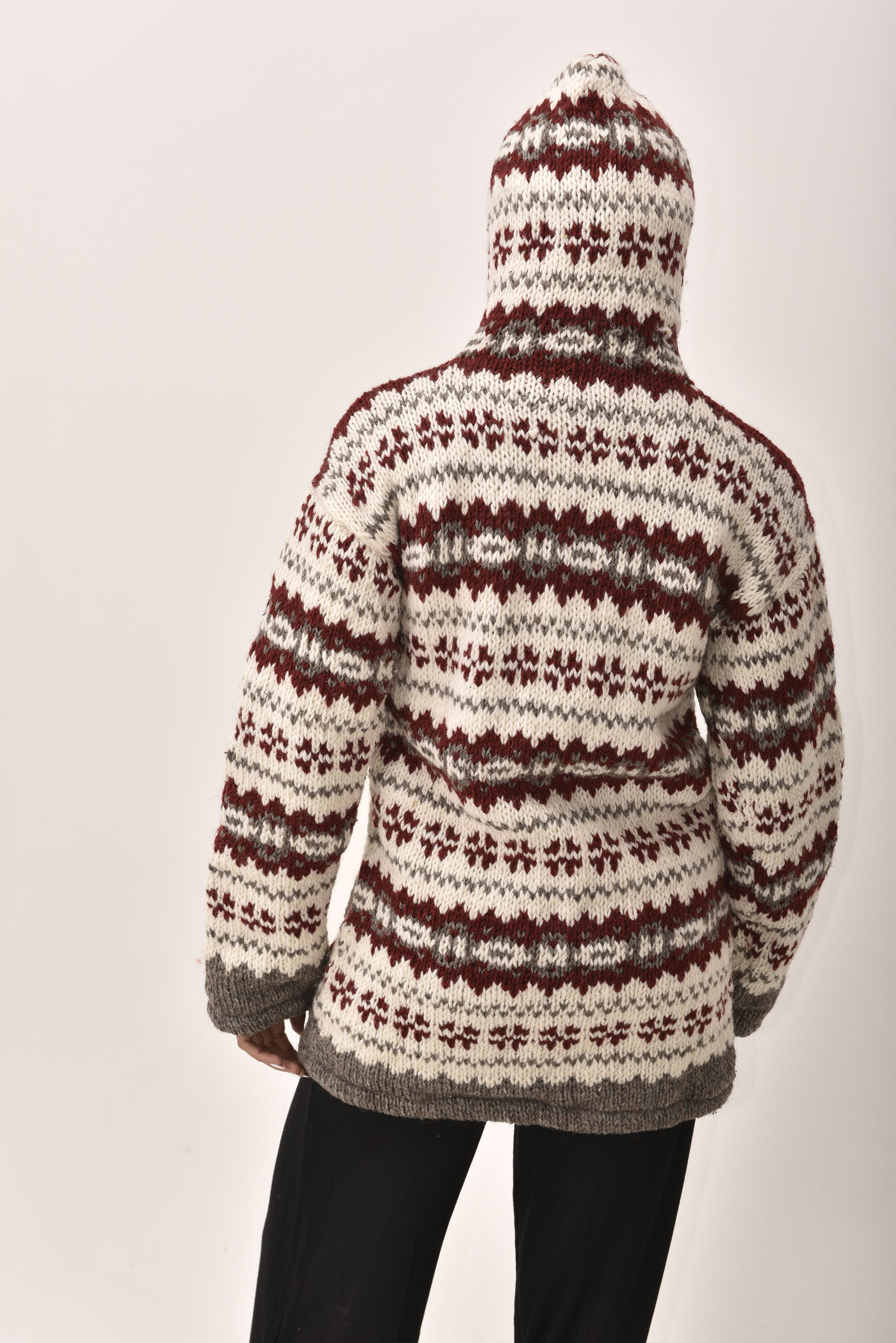Himalayan Mountain Jacket Long Length Vintage Pattern, Merlot