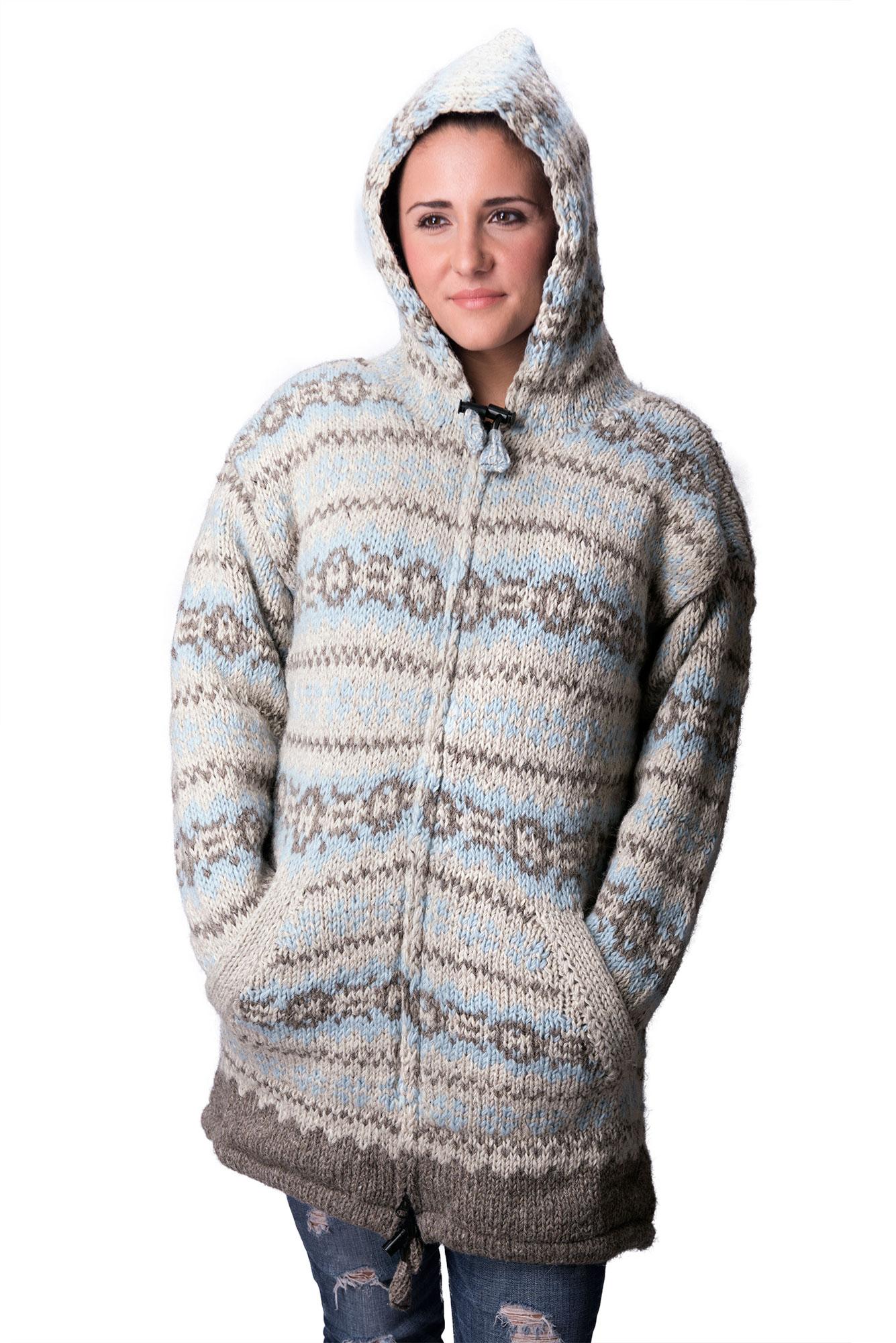 Wool Vintage Himalayan Mountain Jacket – Long Length Baby Blue & Natural