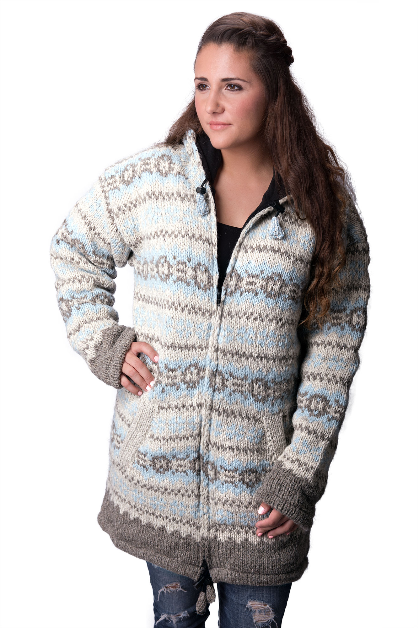 Wool Vintage Himalayan Mountain Jacket – Long Length Baby Blue & Natural