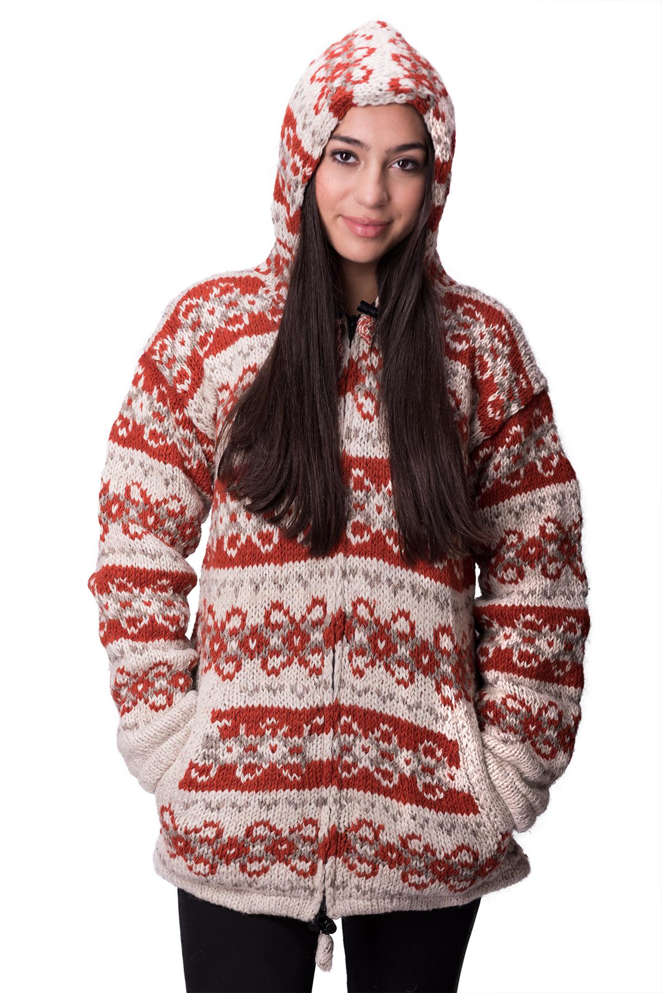Wool Vintage Himalayan Mountain Jacket – Long Length Cinnamon & Cream