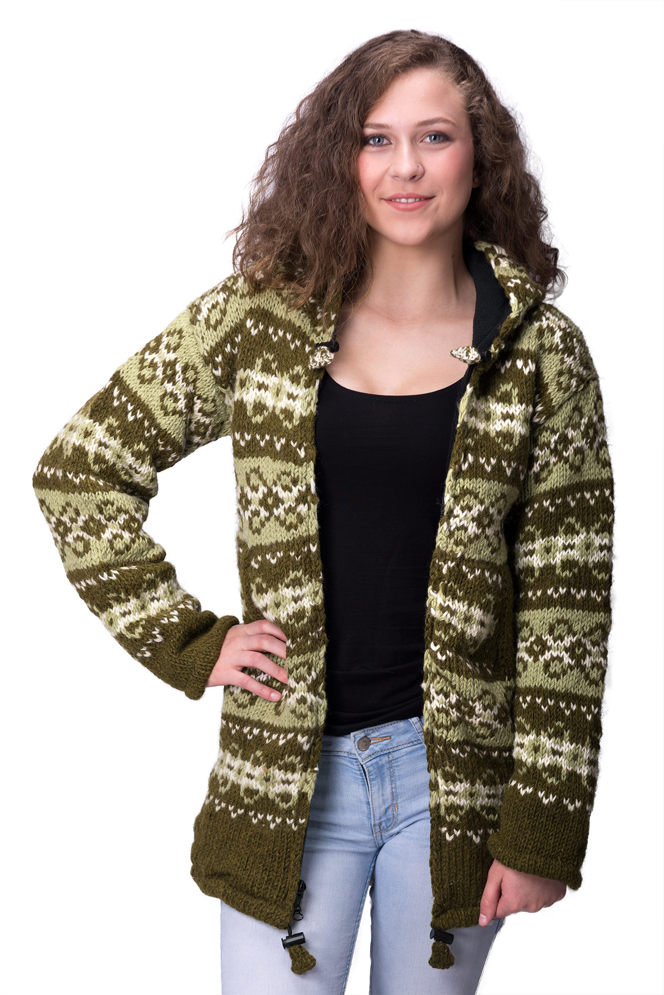Wool Vintage Himalayan Mountain Jacket – Long Length Avocado & Olive
