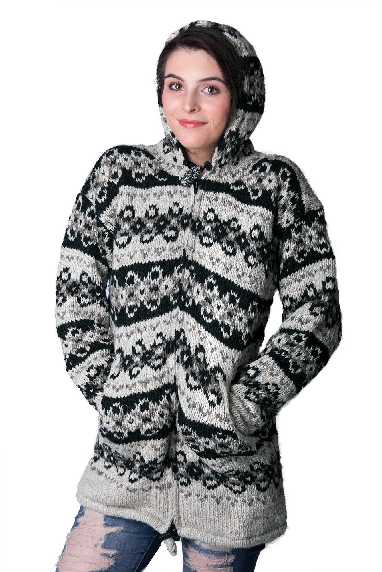 Wool Vintage Himalayan Mountain Jacket – Long Length Pewter & Black