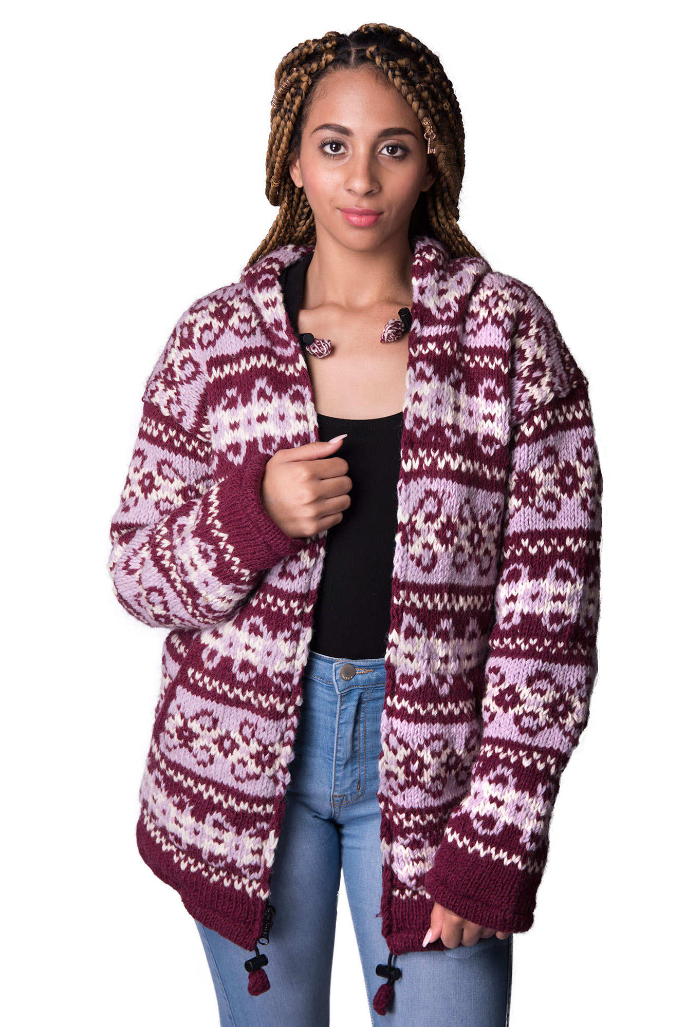 Wool Vintage Himalayan Mountain Jacket – Long Length Plum & Berry