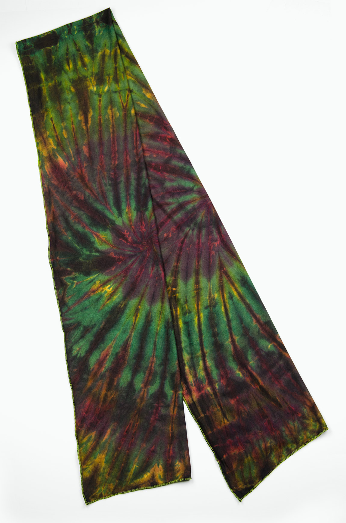 Hand Painted Tie Dye Scarf Red-Green-Multi