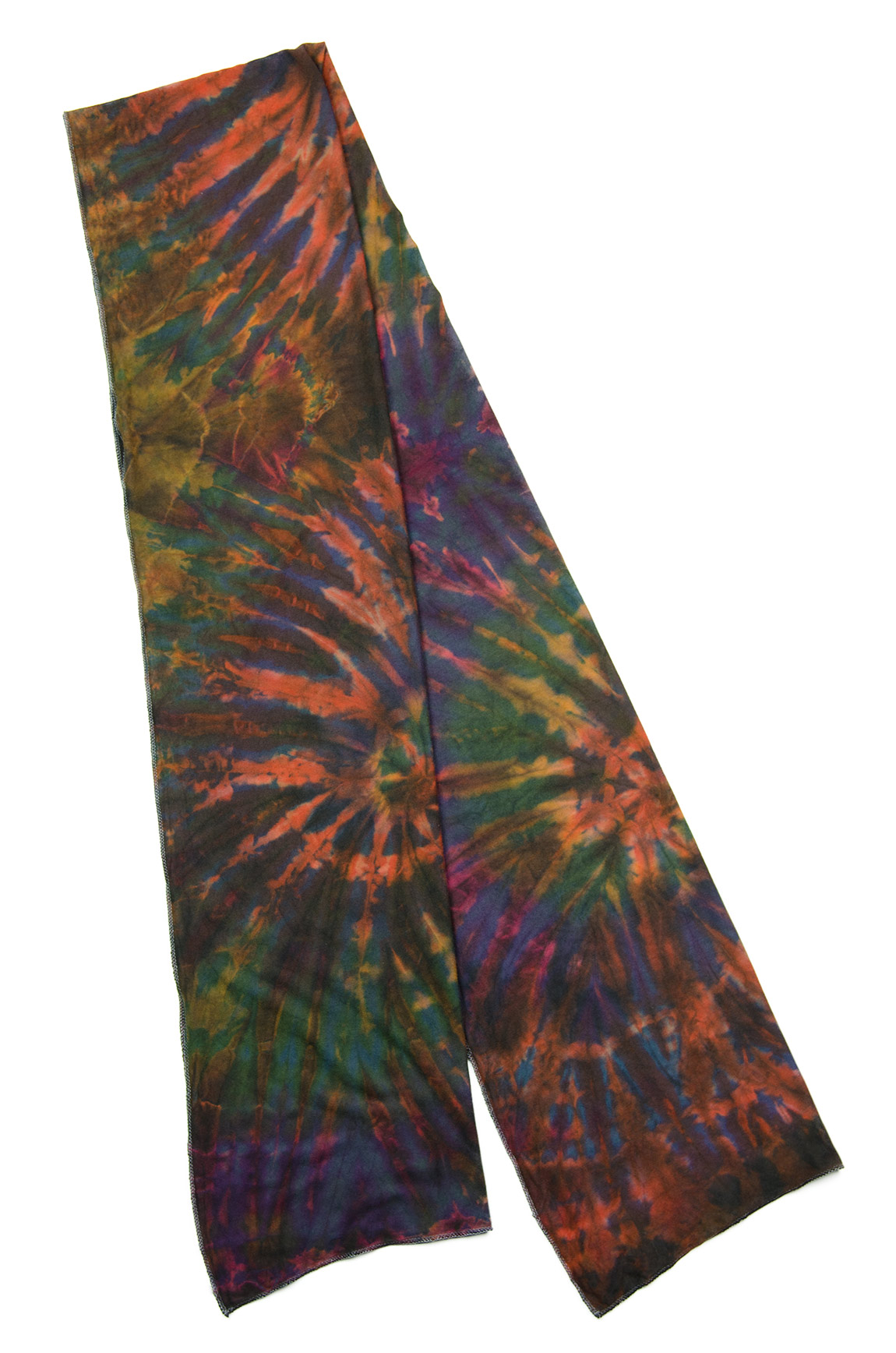 Hand Painted Tie Dye Scarf Muted Rainbow-Multi