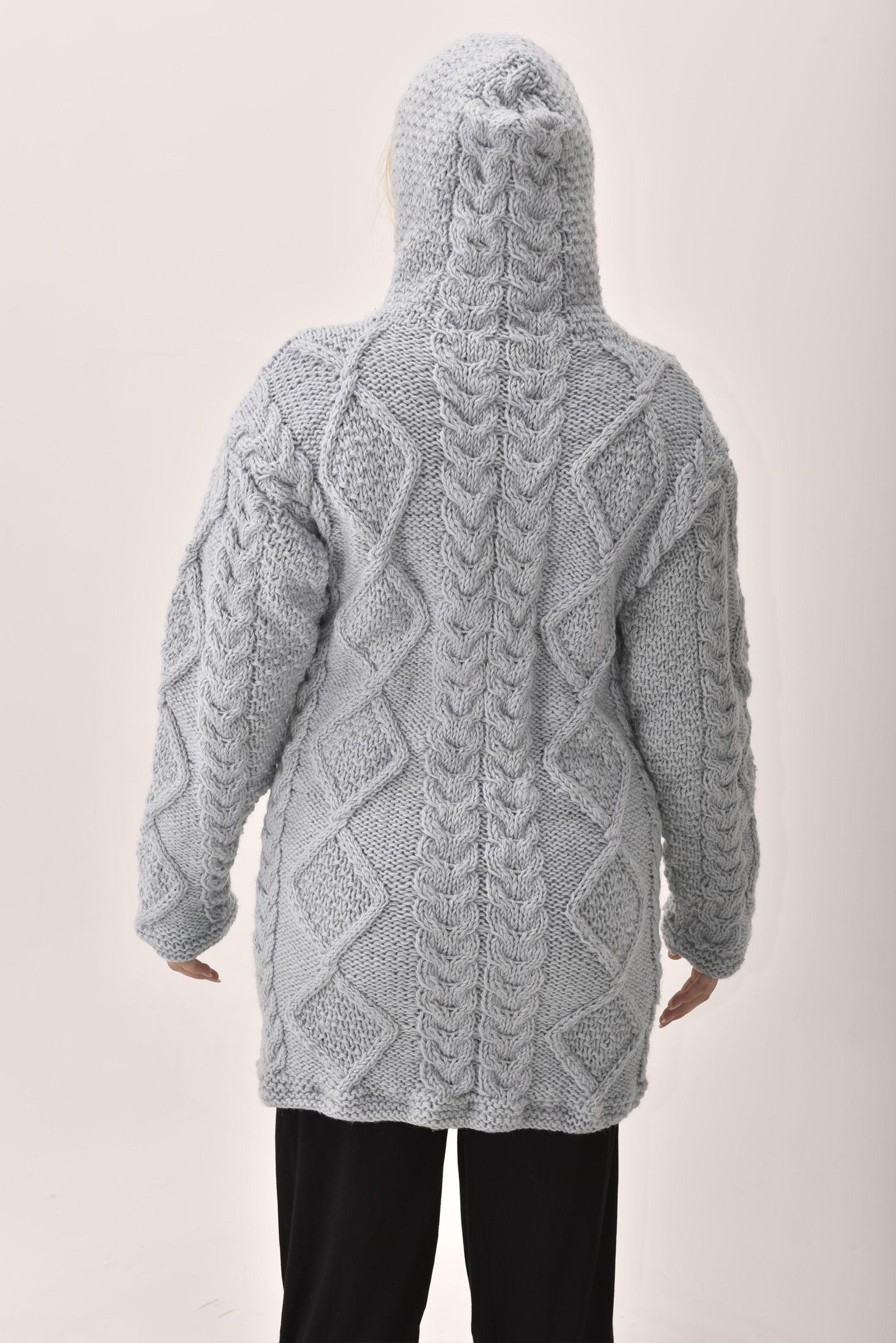 Himalayan Mountain Jacket Long Length Cable Knit, Blue