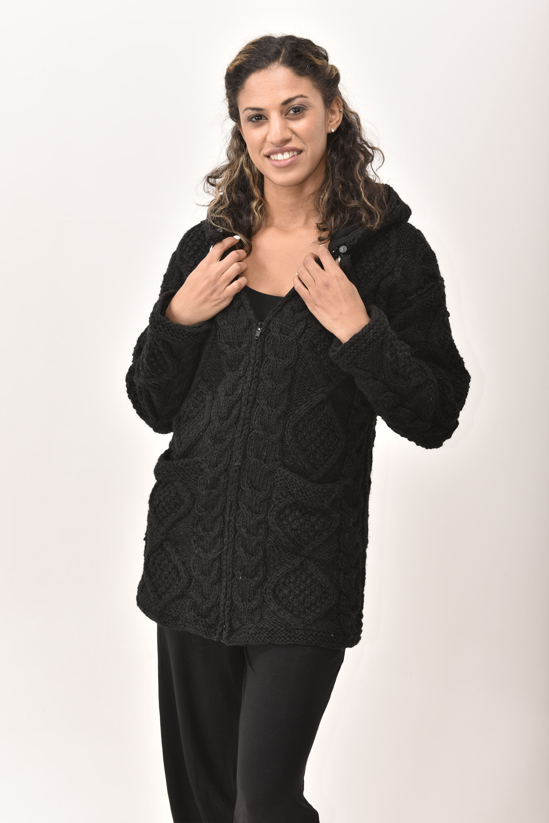 Himalayan Mountain Jacket Long Length Cable Knit, Black