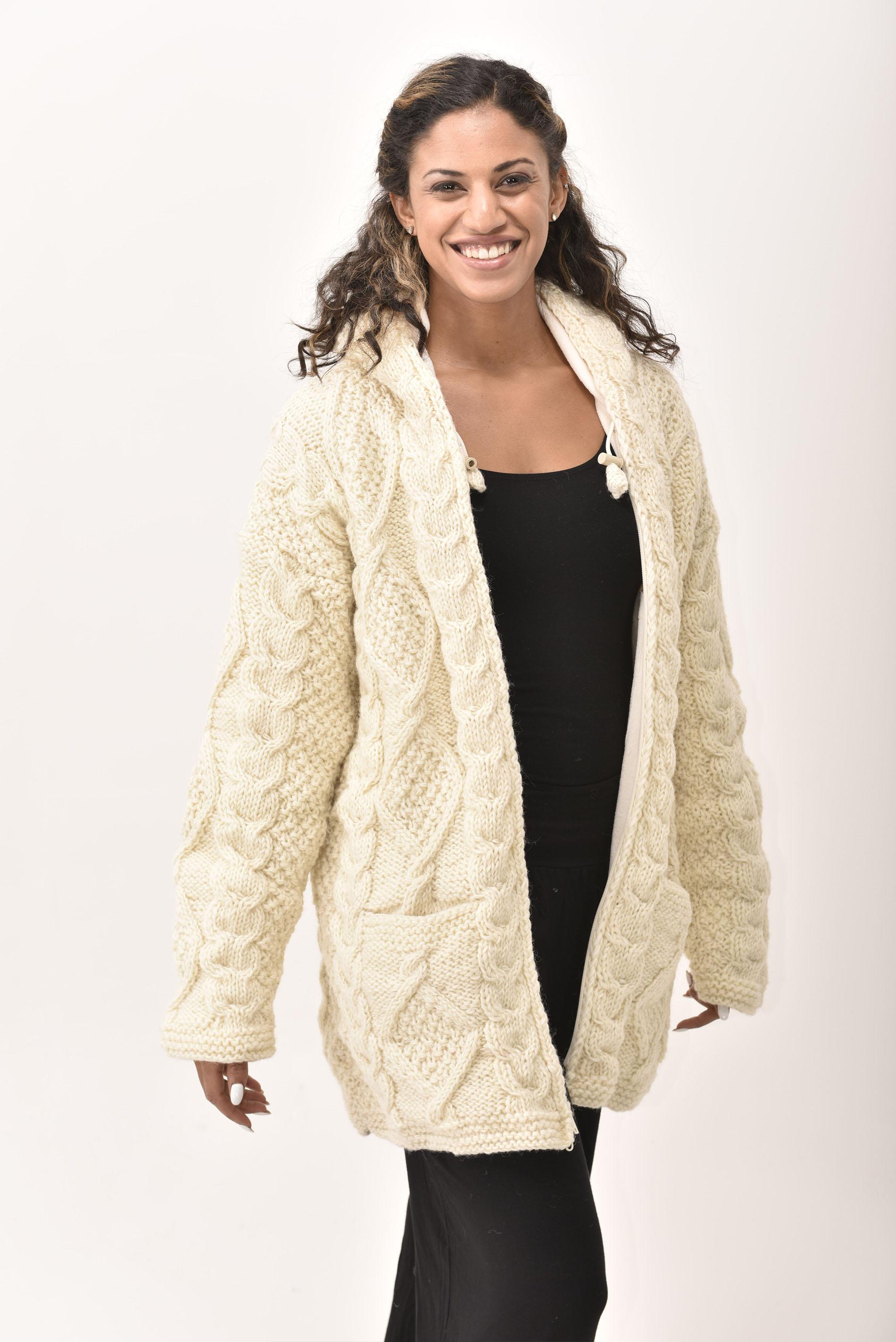 Himalayan Mountain Jacket Long Length Cable Knit, Cream