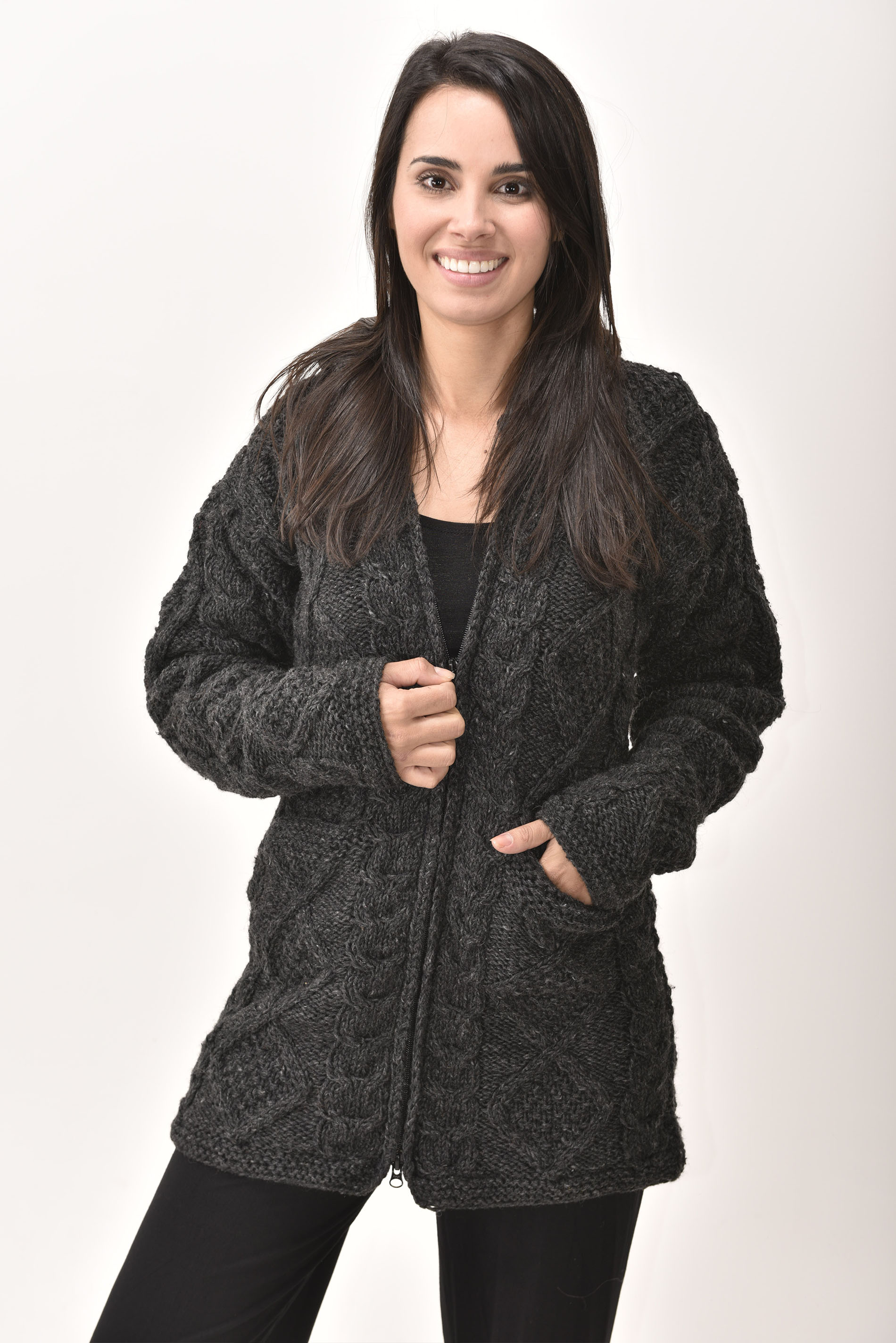 Himalayan Mountain Jacket Long Length Cable Knit, Grey