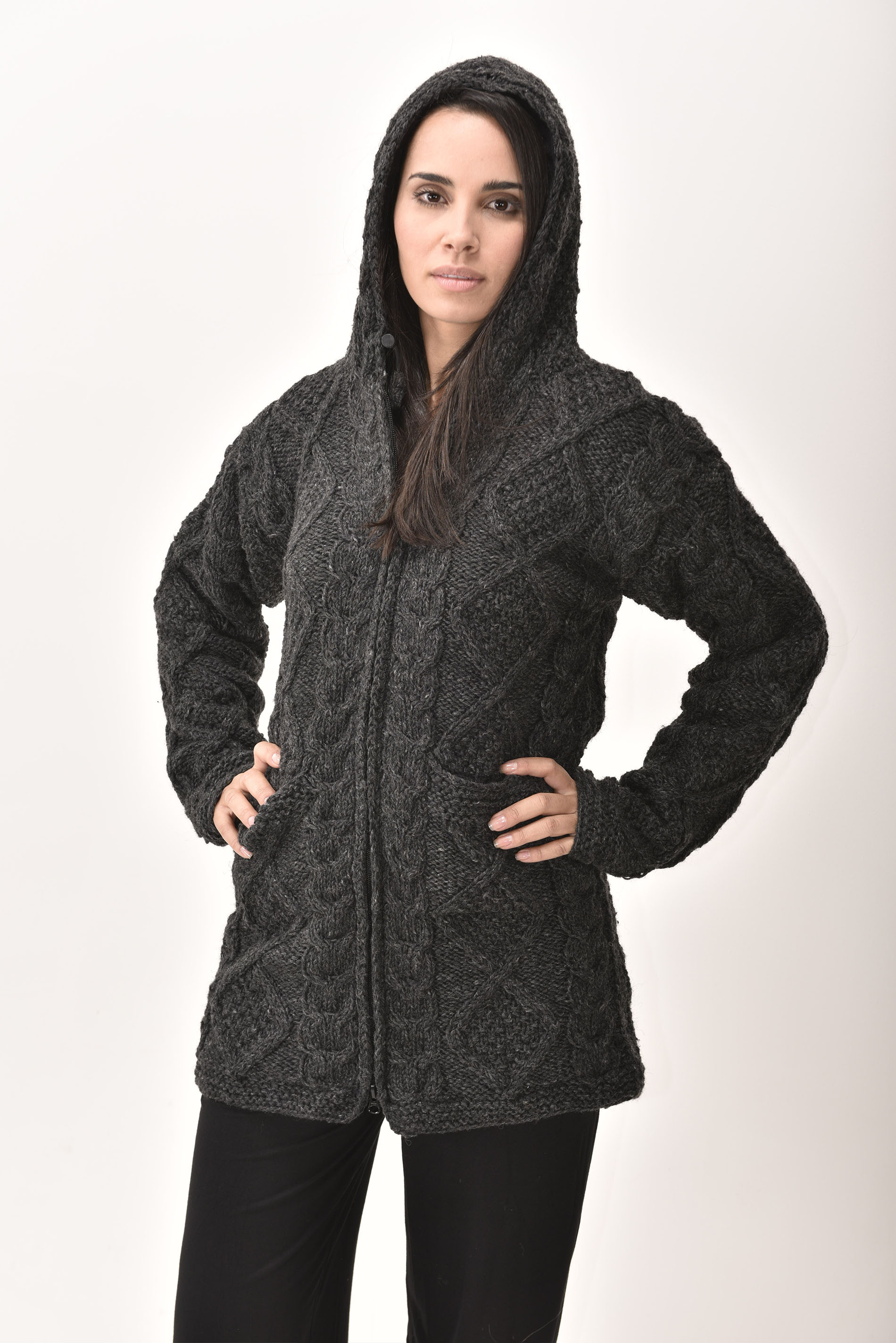Himalayan Mountain Jacket Long Length Cable Knit, Grey
