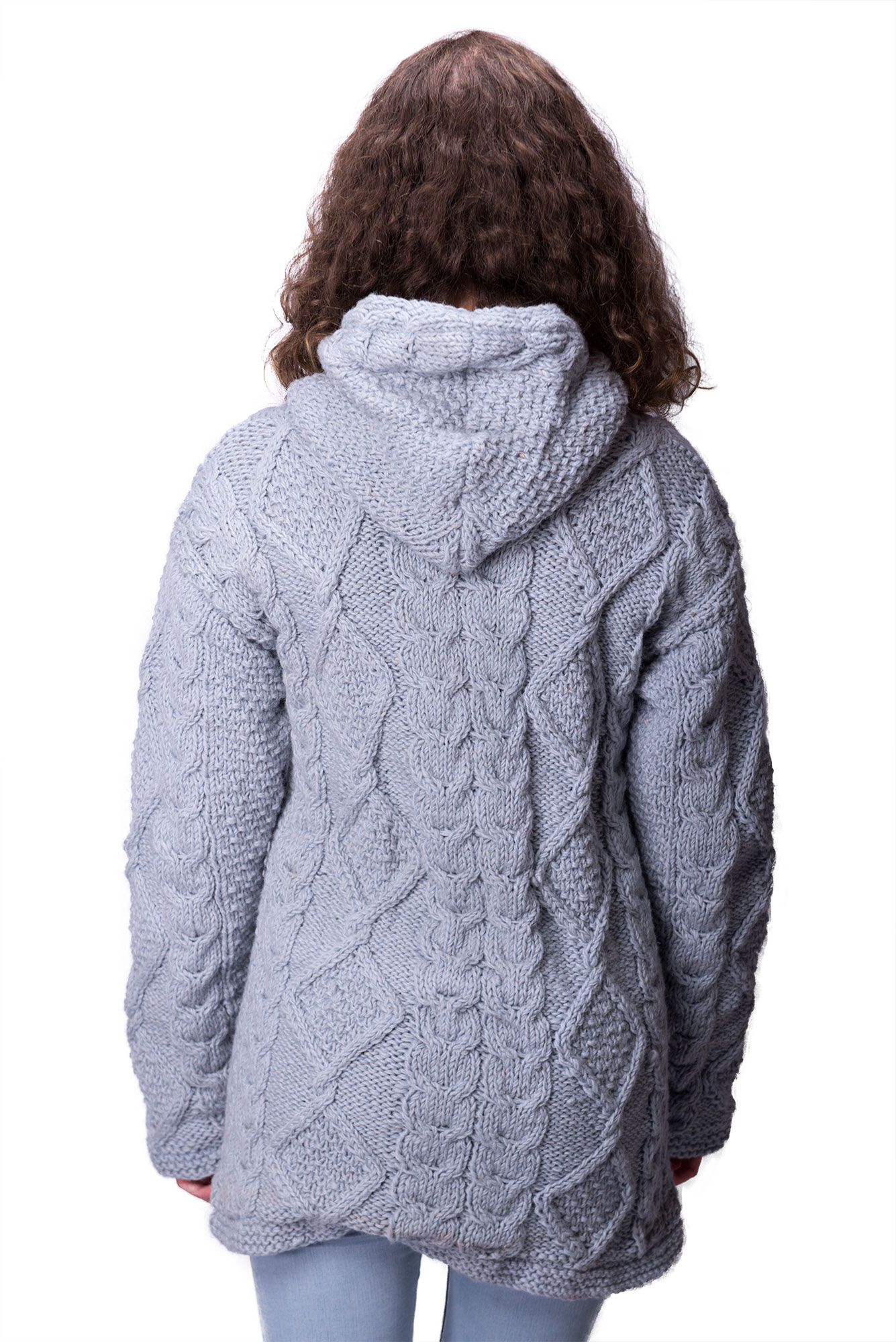 Wool Cable Knit Himalayan Mountain Jacket – Long Length Baby Blue