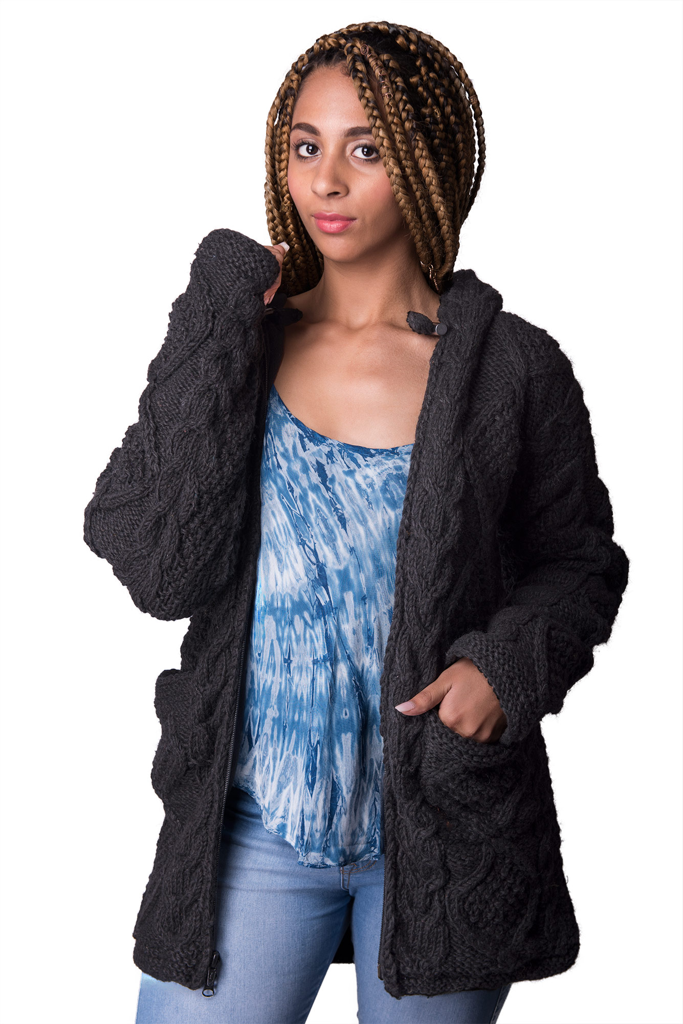 Wool Cable Knit Himalayan Mountain Jacket – Long Length Black