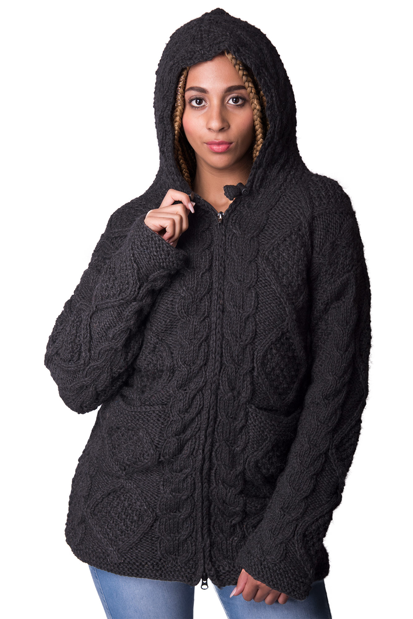 Long Length, Black Cable Knit