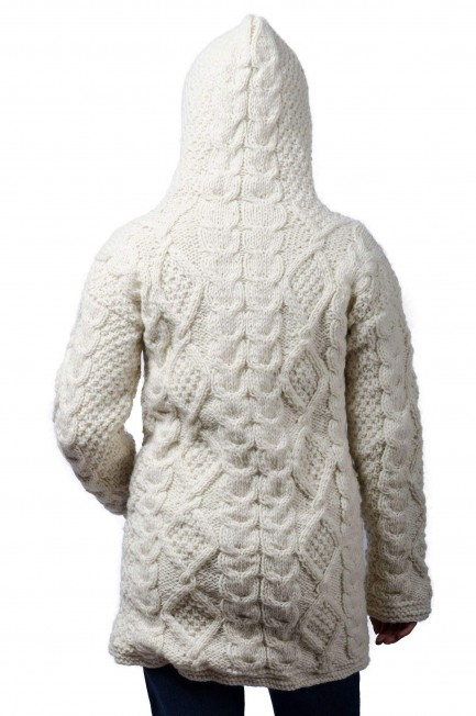 Wool Cable Knit Himalayan Mountain Jacket Cream