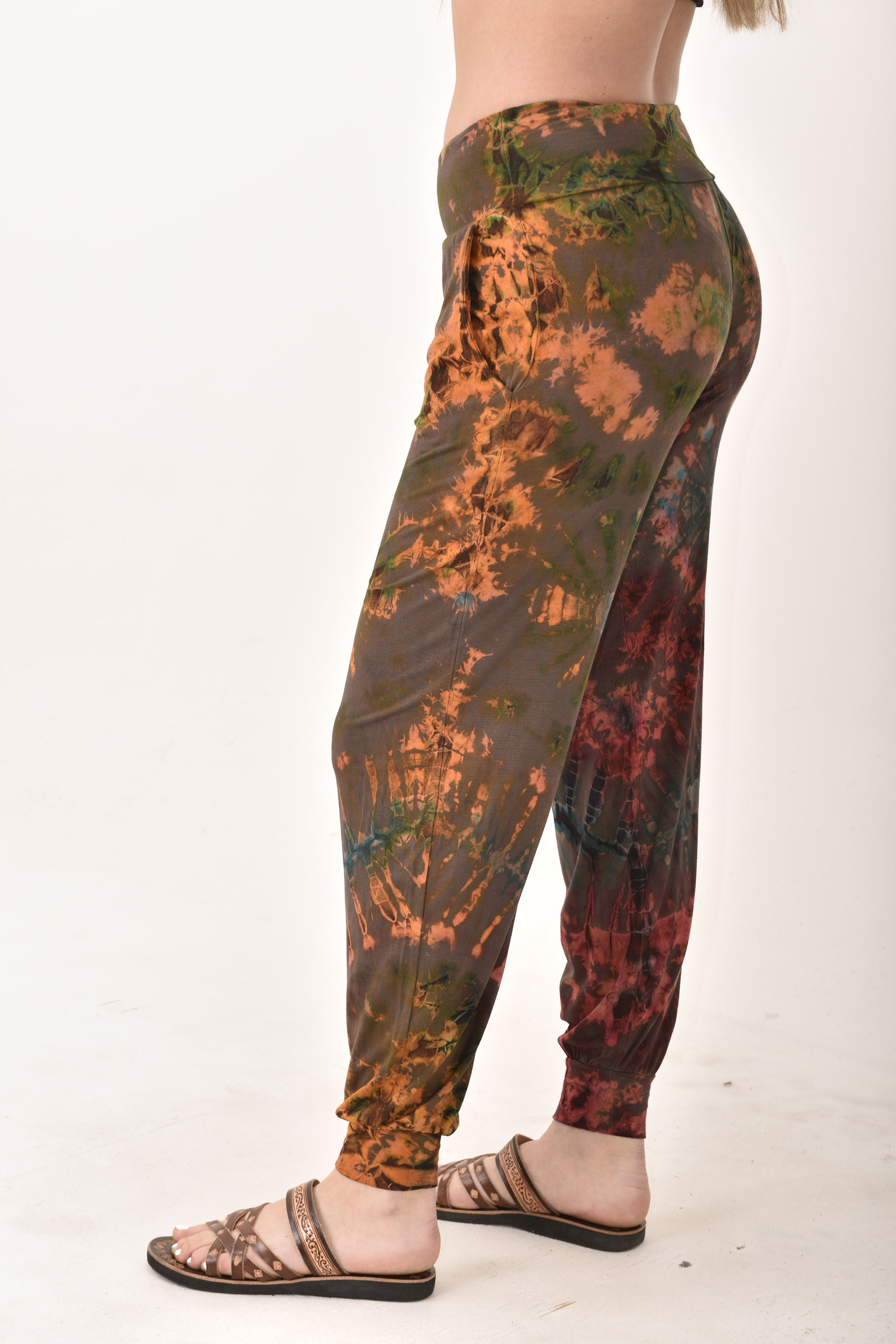 Hand Painted Tie Dye deluxe Harem Pants on higher quality Rayon/Spandex Blend, Rust