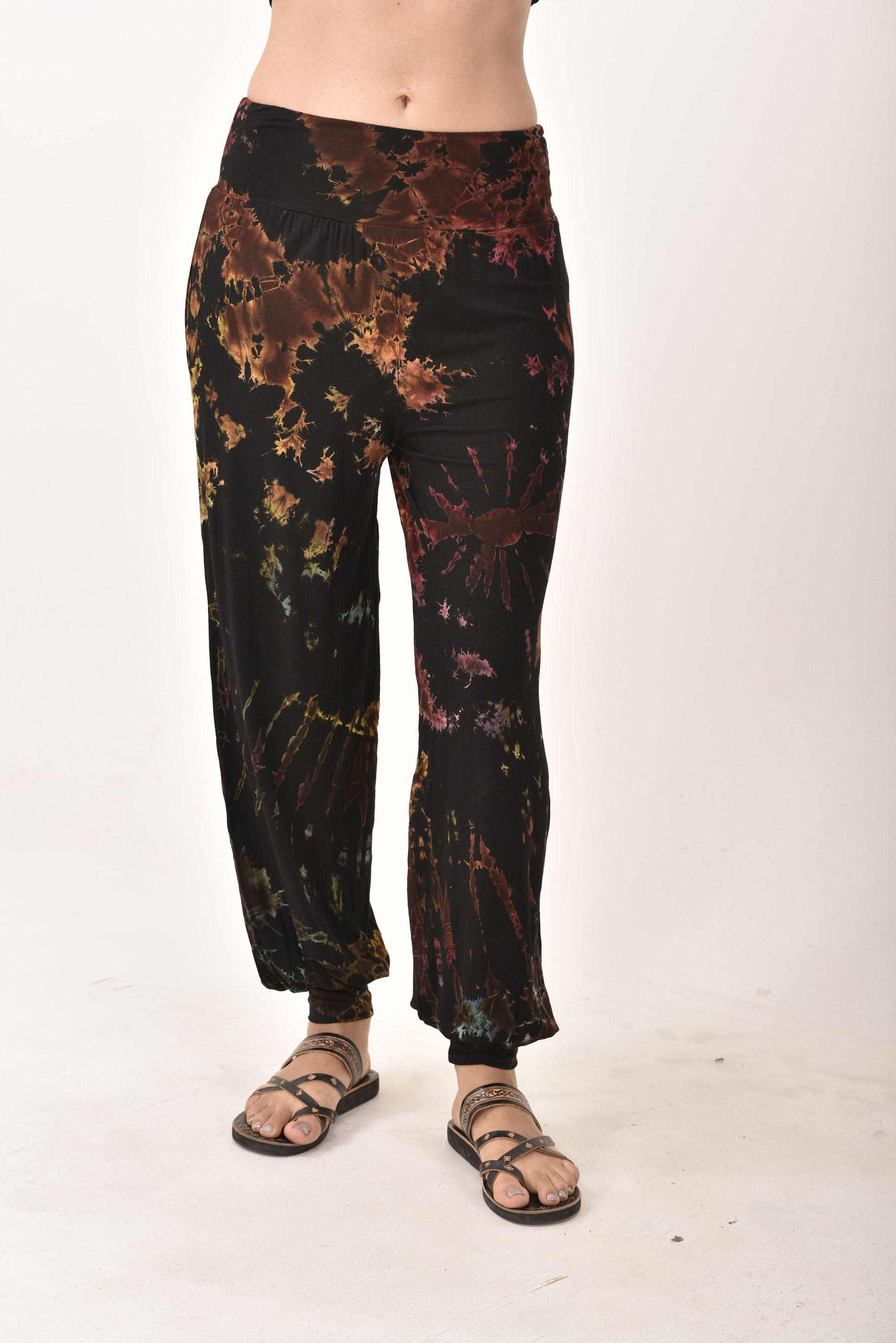 Hand Painted Tie Dye deluxe Harem Pants on higher quality Rayon/Spandex Blend, Black
