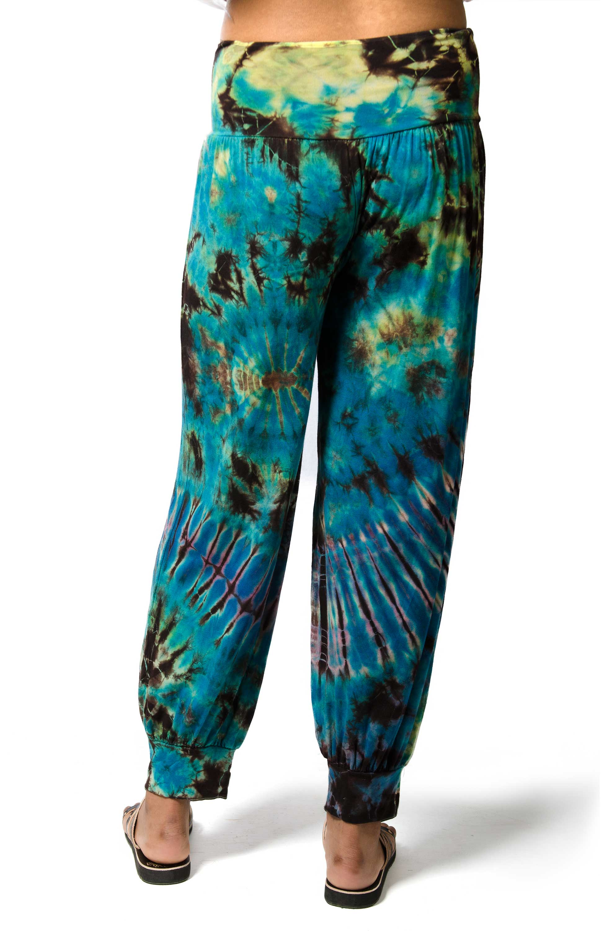 Harem Pants Hand Painted Tie Dye, back Blue